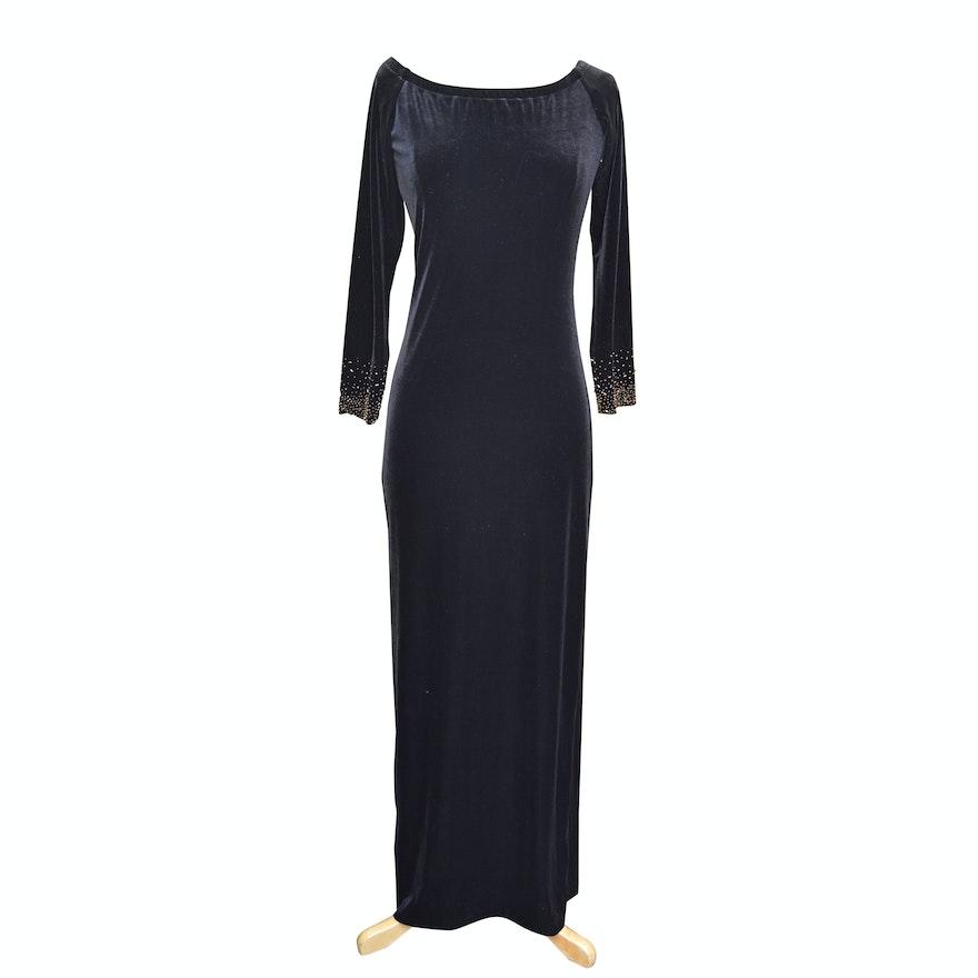 Lawrence Kurtz Black Velvet Evening Gown with Beaded Sleeves : EBTH