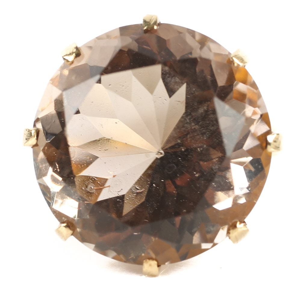 14K Yellow Gold 15.70 CT Smoky Quartz Ring