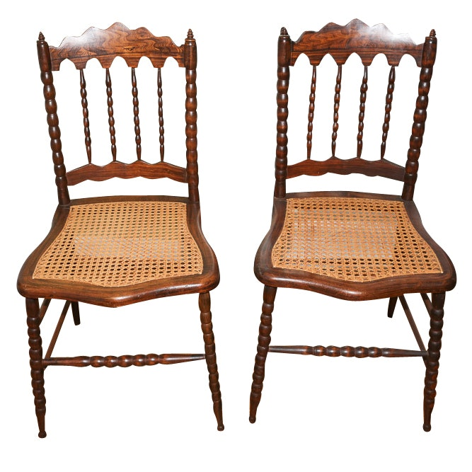 Bobbin Turned Spindle Back Chairs with Cane Seating