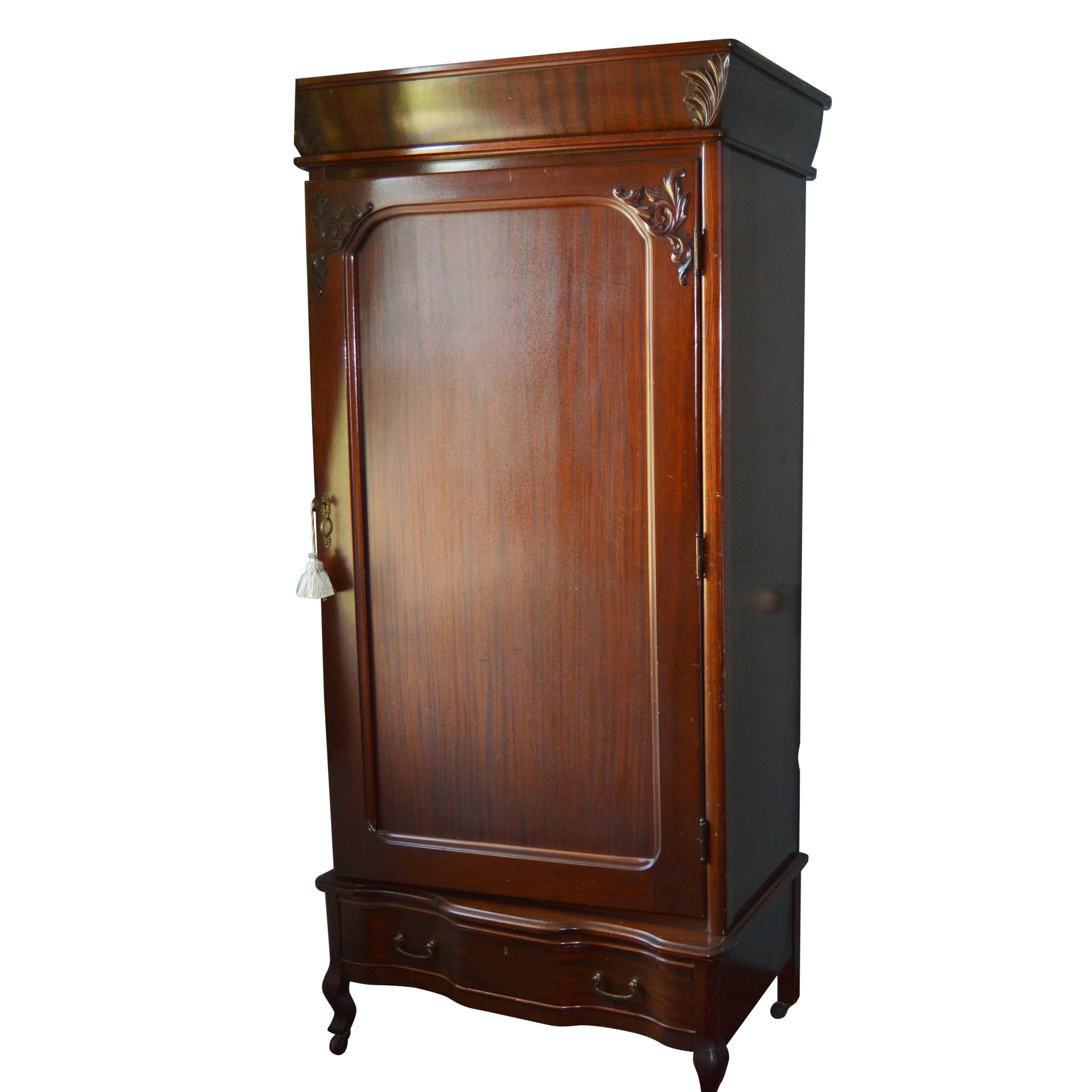 Antique Rococo Revival Style Mahogany Armoire, Early 20th Century