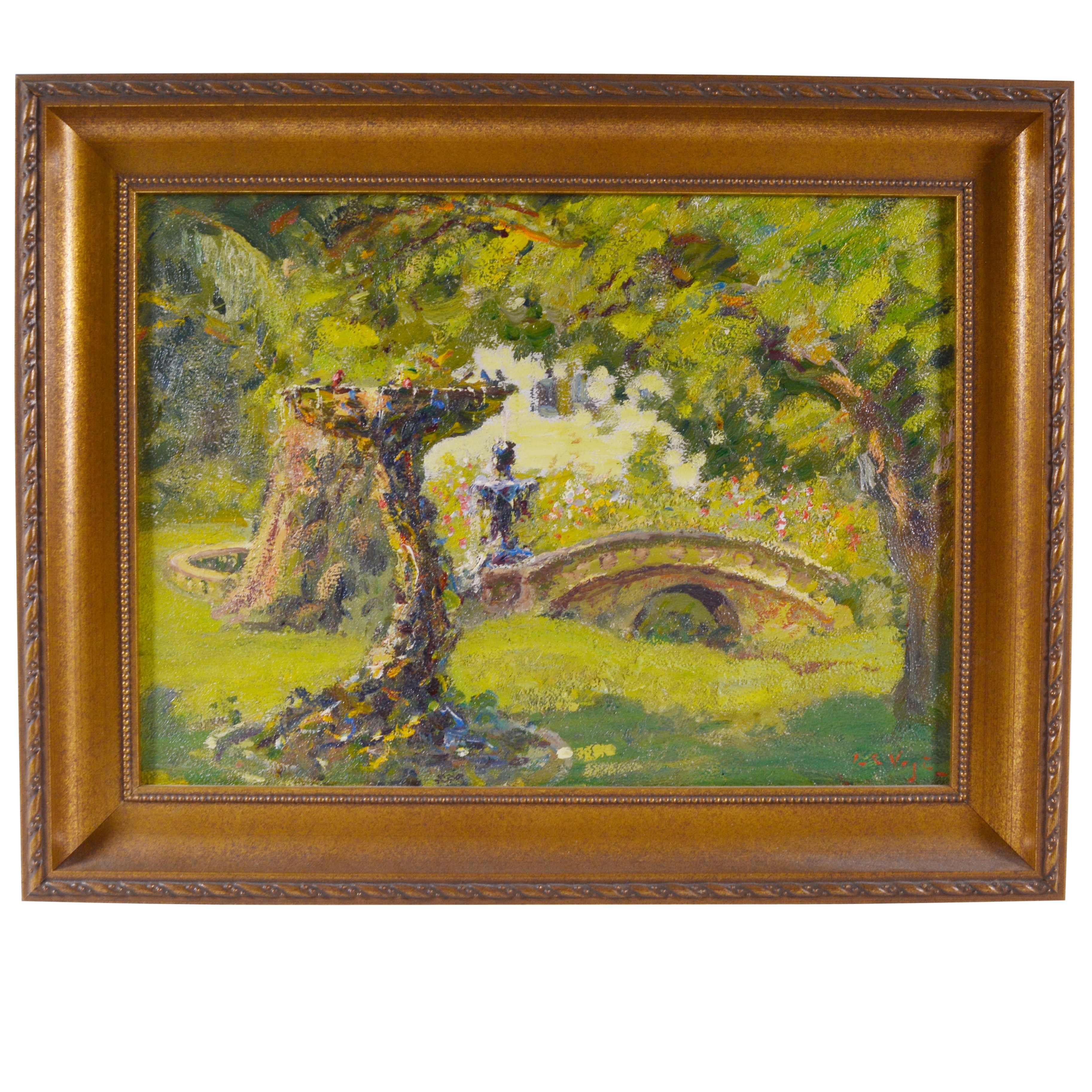 Louis Charles Vogt Oil Painting of Park Fountain