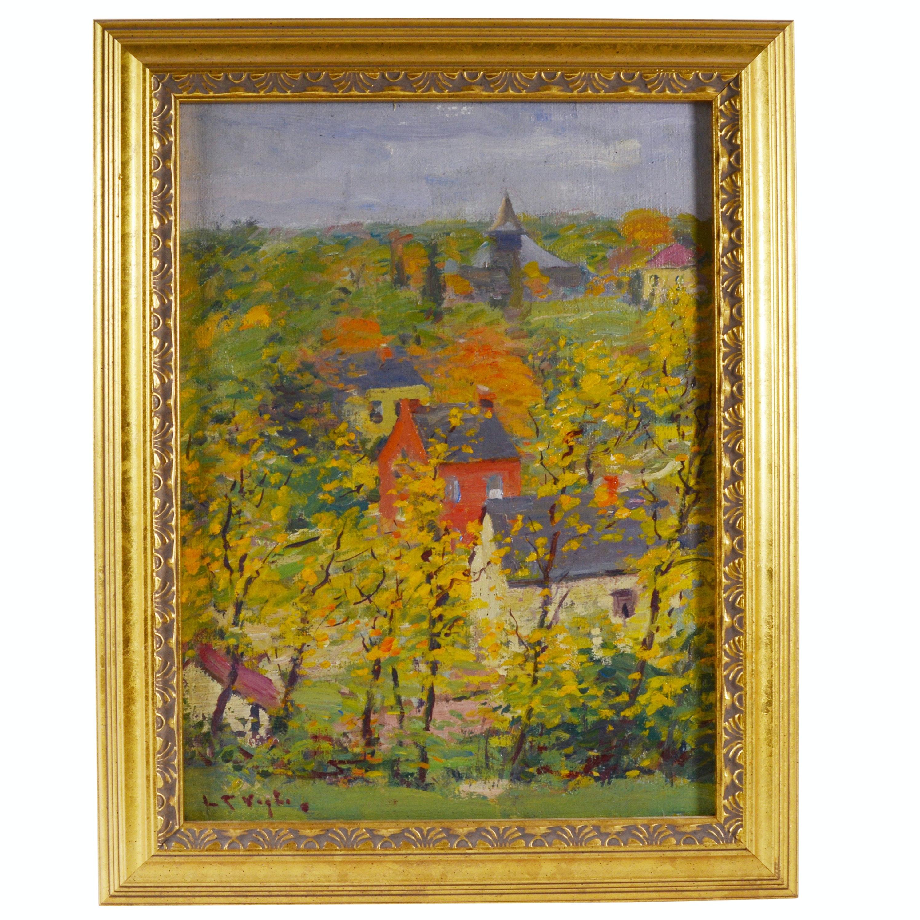 Louis Charles Vogt Oil Painting of Flowering Trees in Village