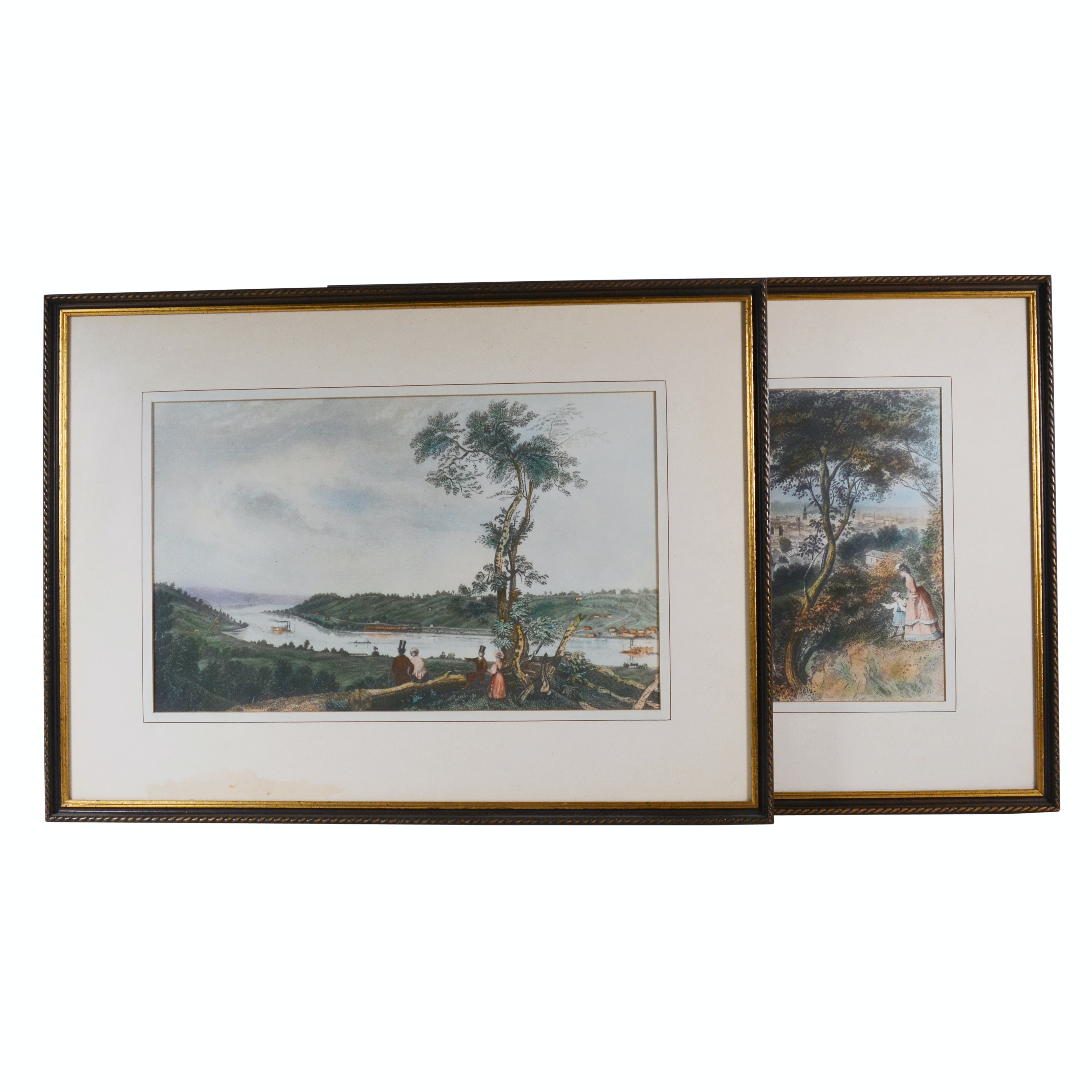 Pair of Colored Etchings of View Over Ohio River