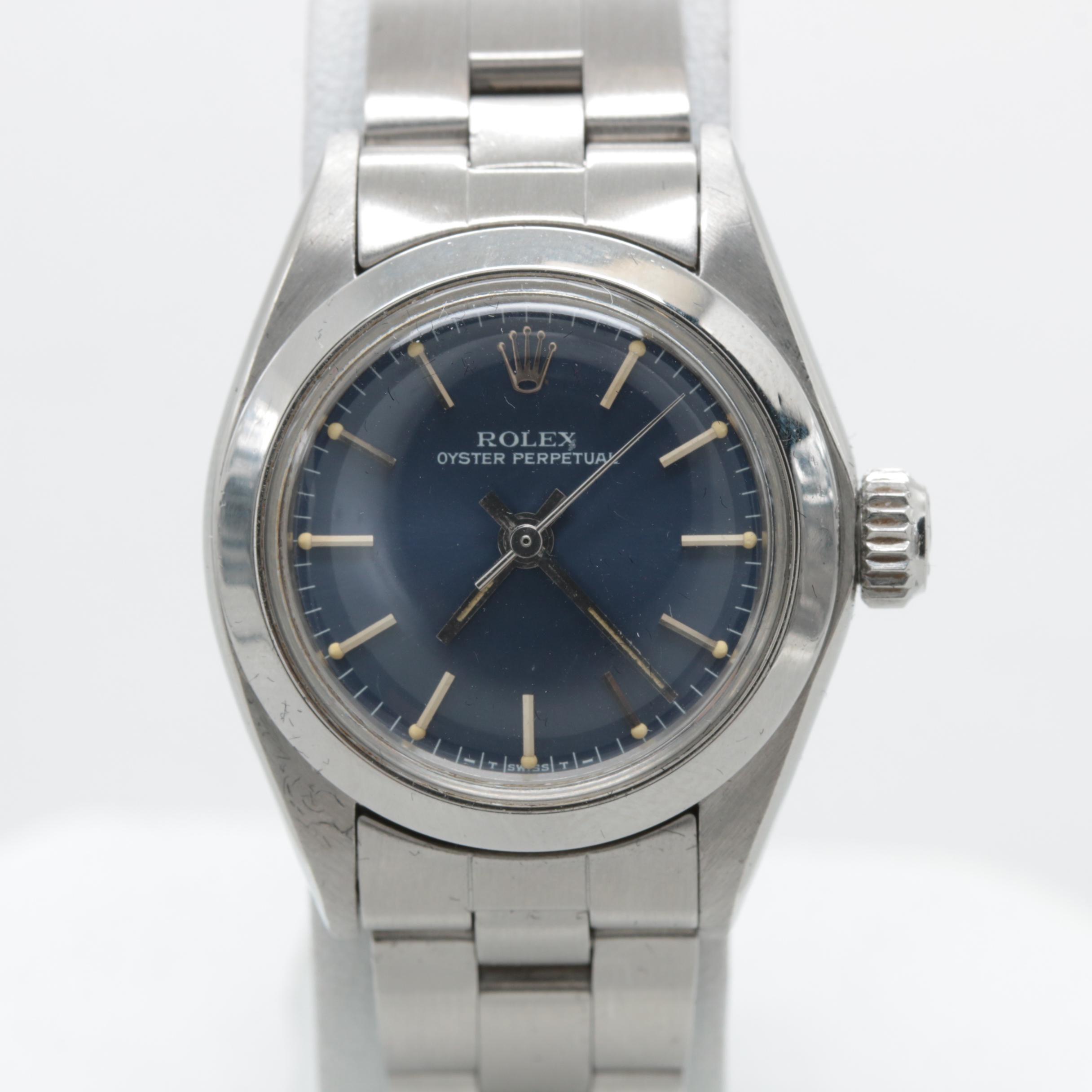 Circa 1981 Rolex Stainless Steel Blue Dial Wristwatch