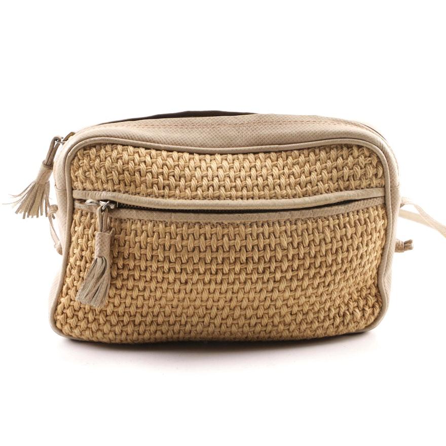 90dc420b2f1 Vintage Bottega Veneta Woven Wool and Lizard Embossed Leather Shoulder Bag    EBTH