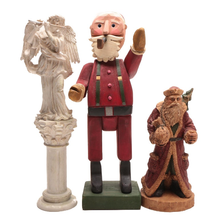 Contemporary Santa Claus and Angel Decorative Figures