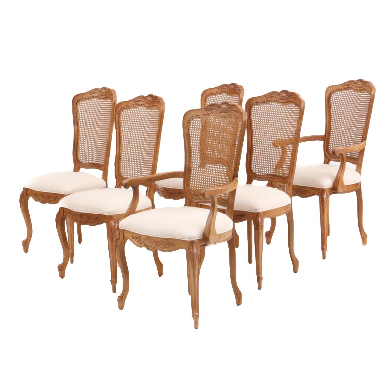 French Provincial Style Cane Back Dining Chairs