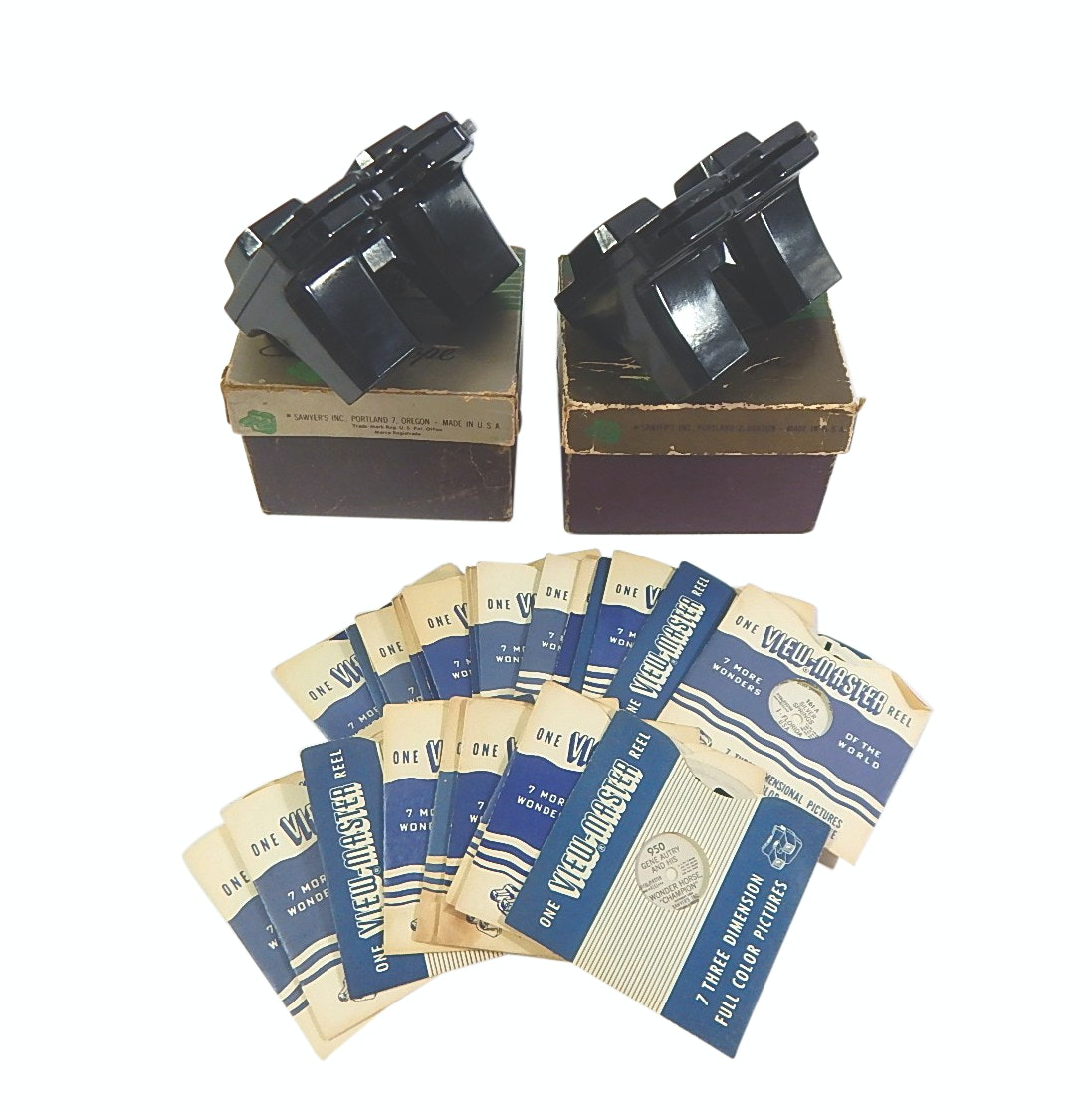 Vintage Sawyer's Viewmasters with Boxes and Reels