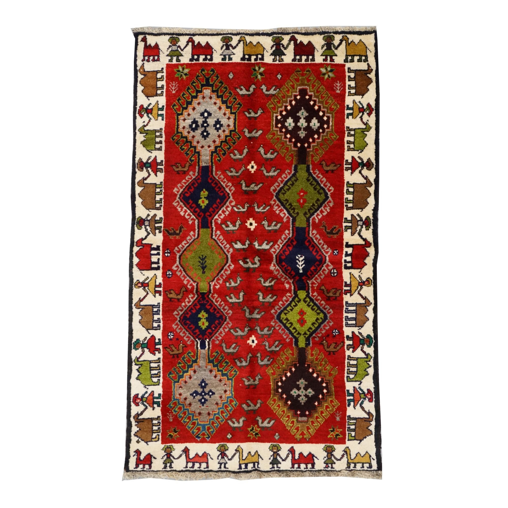 Vintage Hand Knotted Indo-Persian Wool Accent Rug