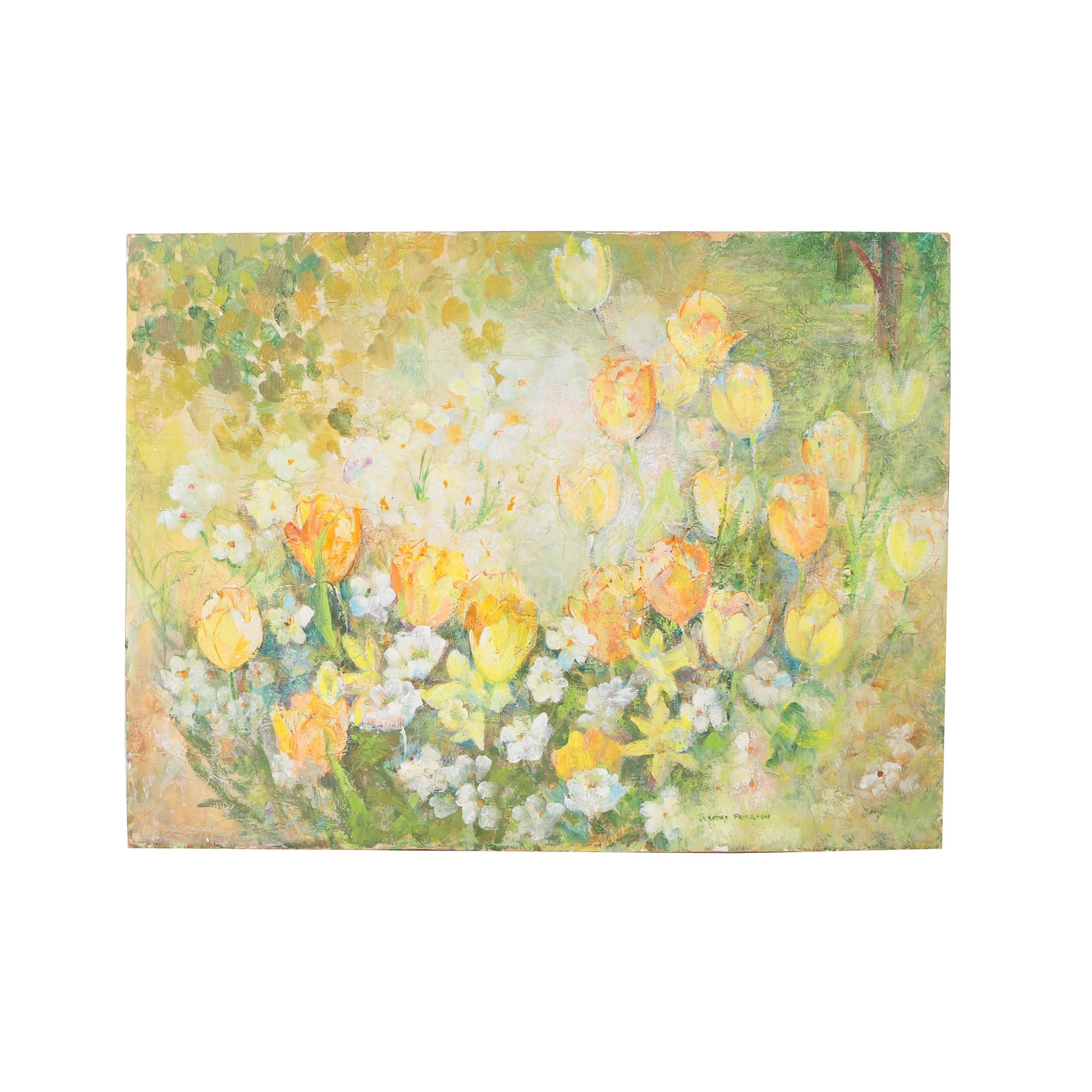 Floral Acrylic Painting on Tissue Paper