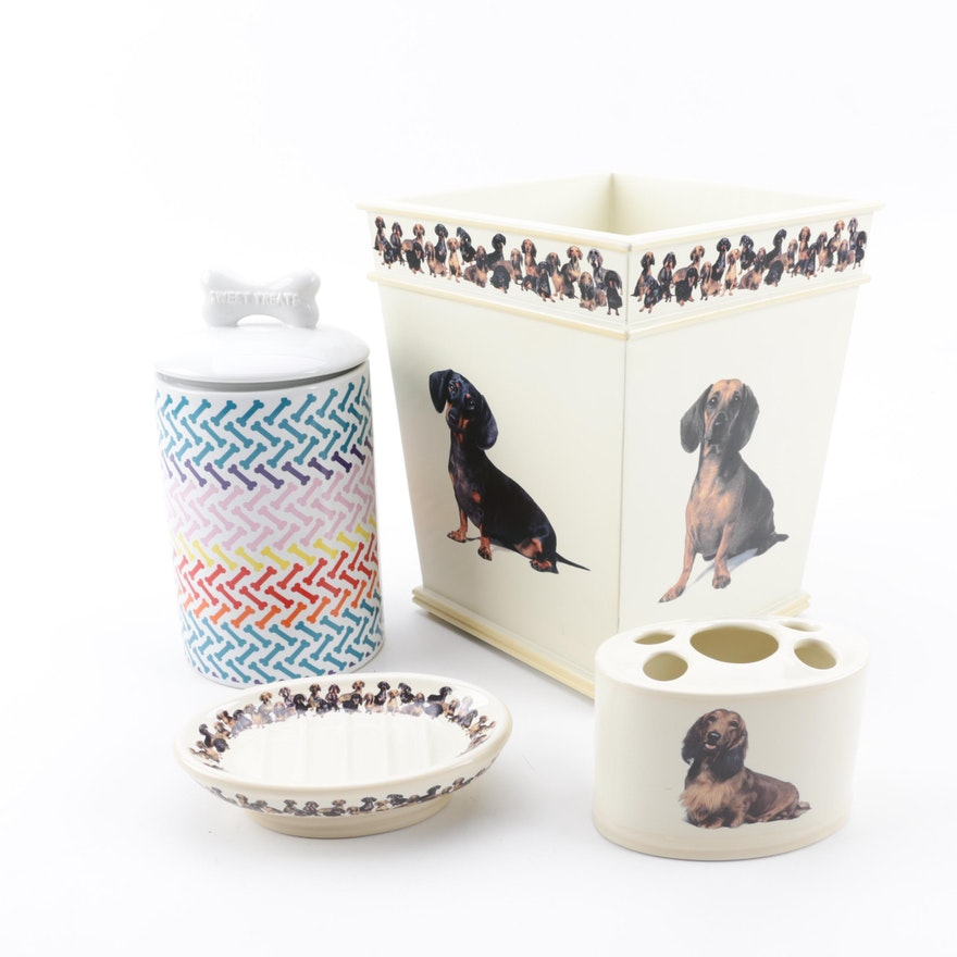 Dachshund Themed Bathroom Accessories With Dog Treat Canister