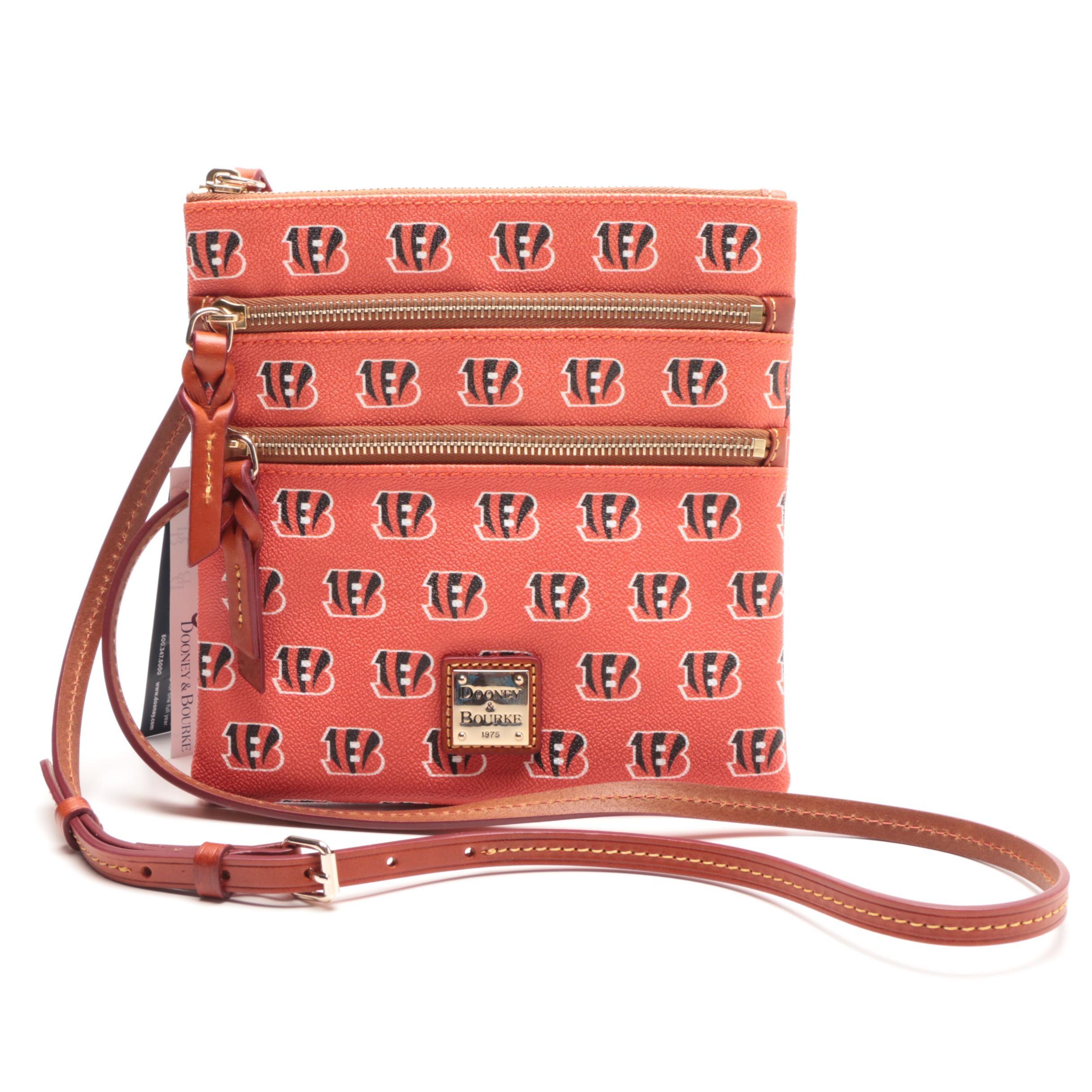 New Dooney & Bourke Cincinnati Bengals Triple Zip Crossbody Handbag