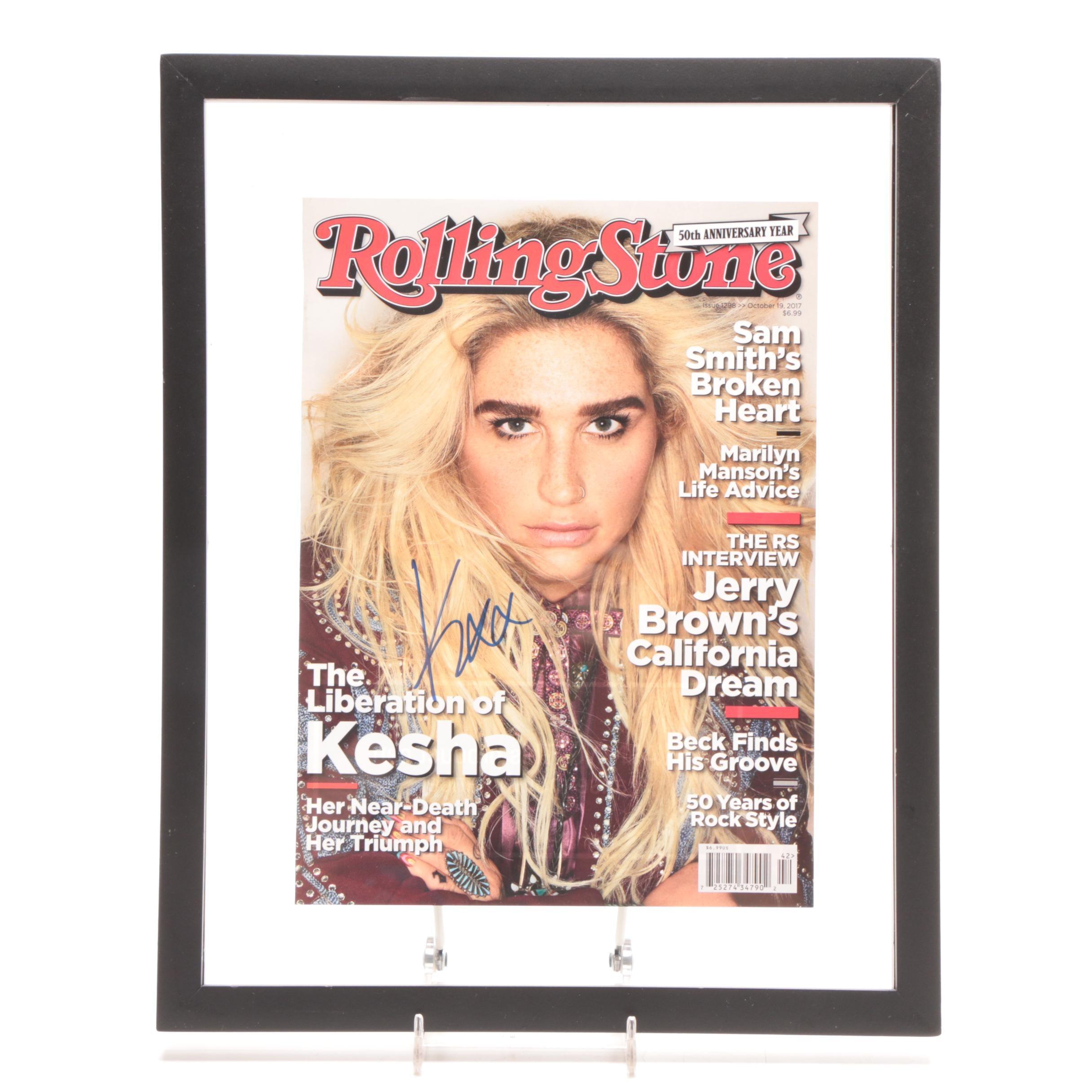 """2017 Kesha Signed """"Rolling Stones"""" Magazine Cover"""