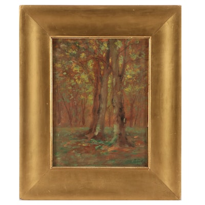 Martin Rettig Oil Painting of  Woodland Interior