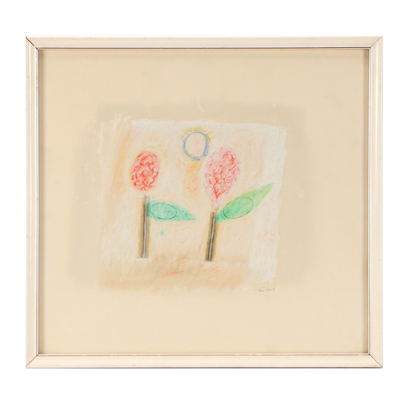 Jean David Modernist Graphite and Pastel Drawing of Flowers
