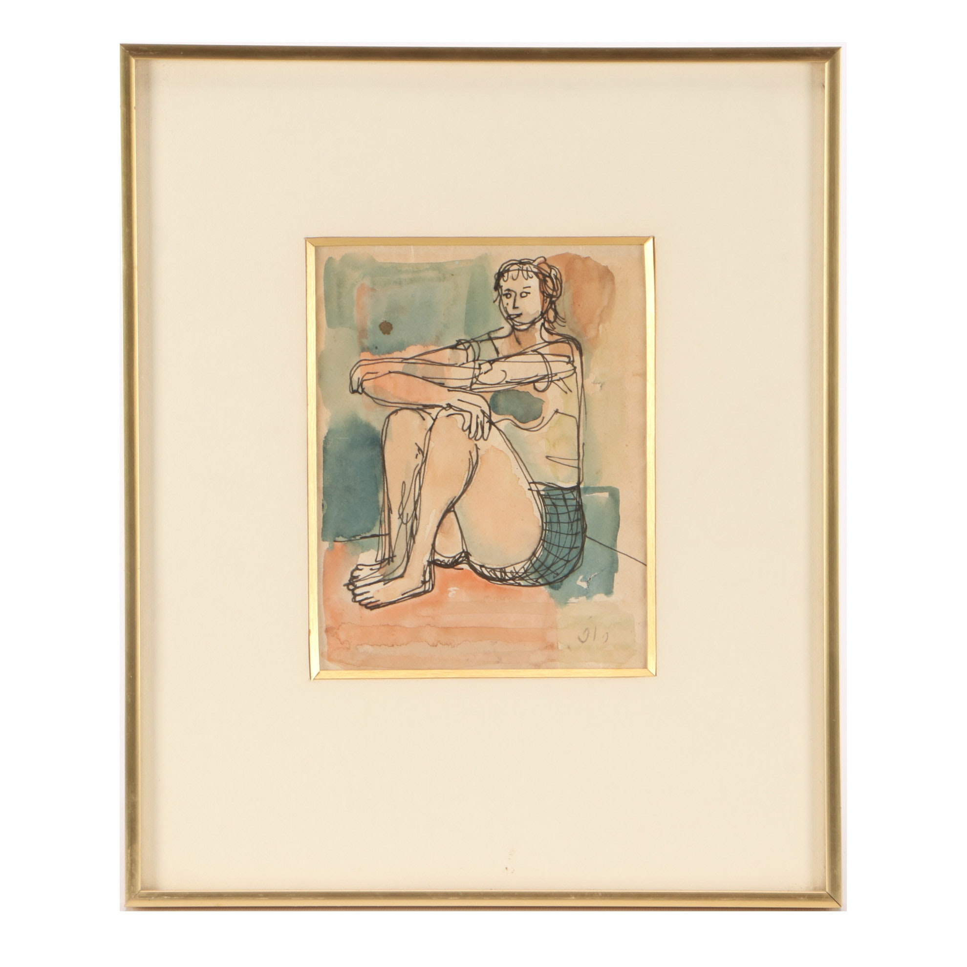 Leo Roth Vintage Ink and Watercolor Painting of a Figure