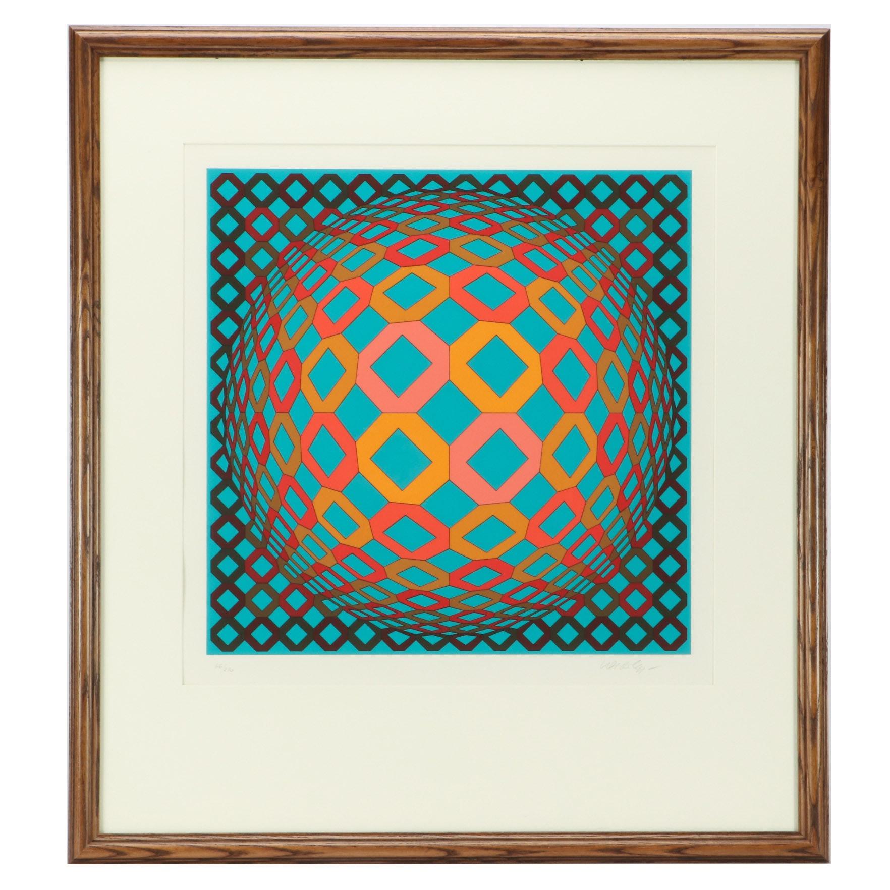 "Victor Vasarely Limited Edition Op-Art Serigraph ""Okta Sarga"""