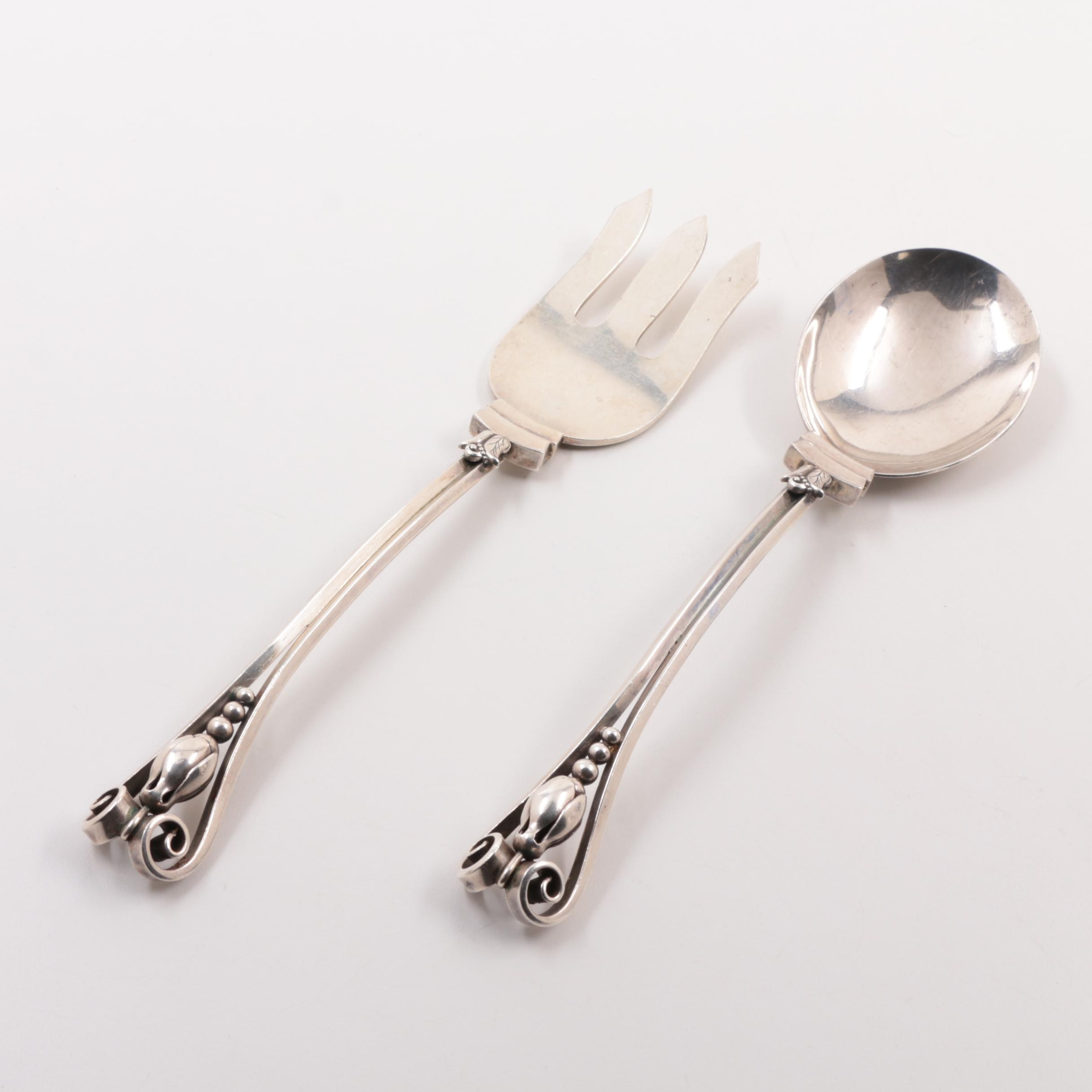 Georg Jensen Sterling Silver Salad Serving Set