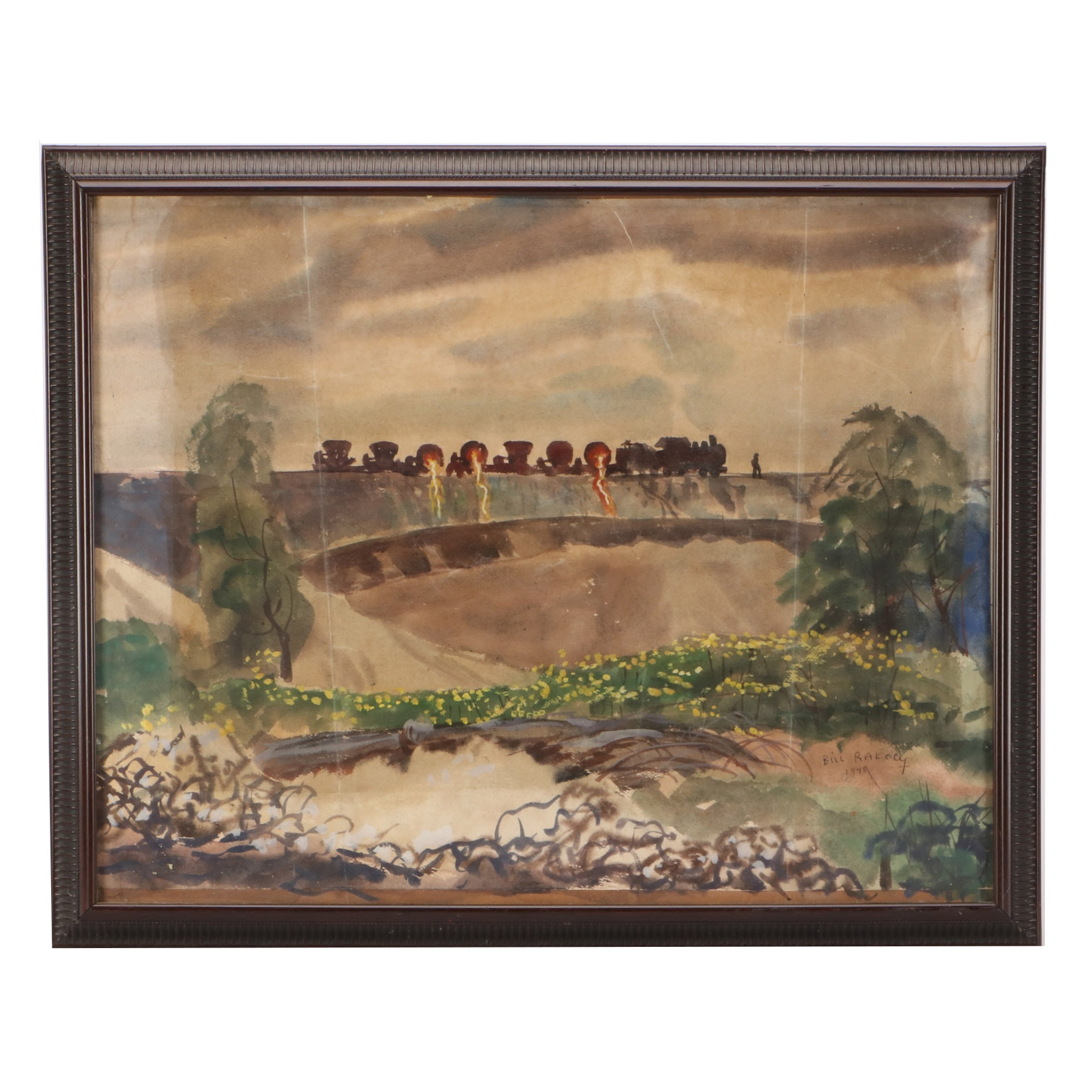 "Bill Rakocy 1948 Watercolor Painting ""Hot Slag Dump Ground"""
