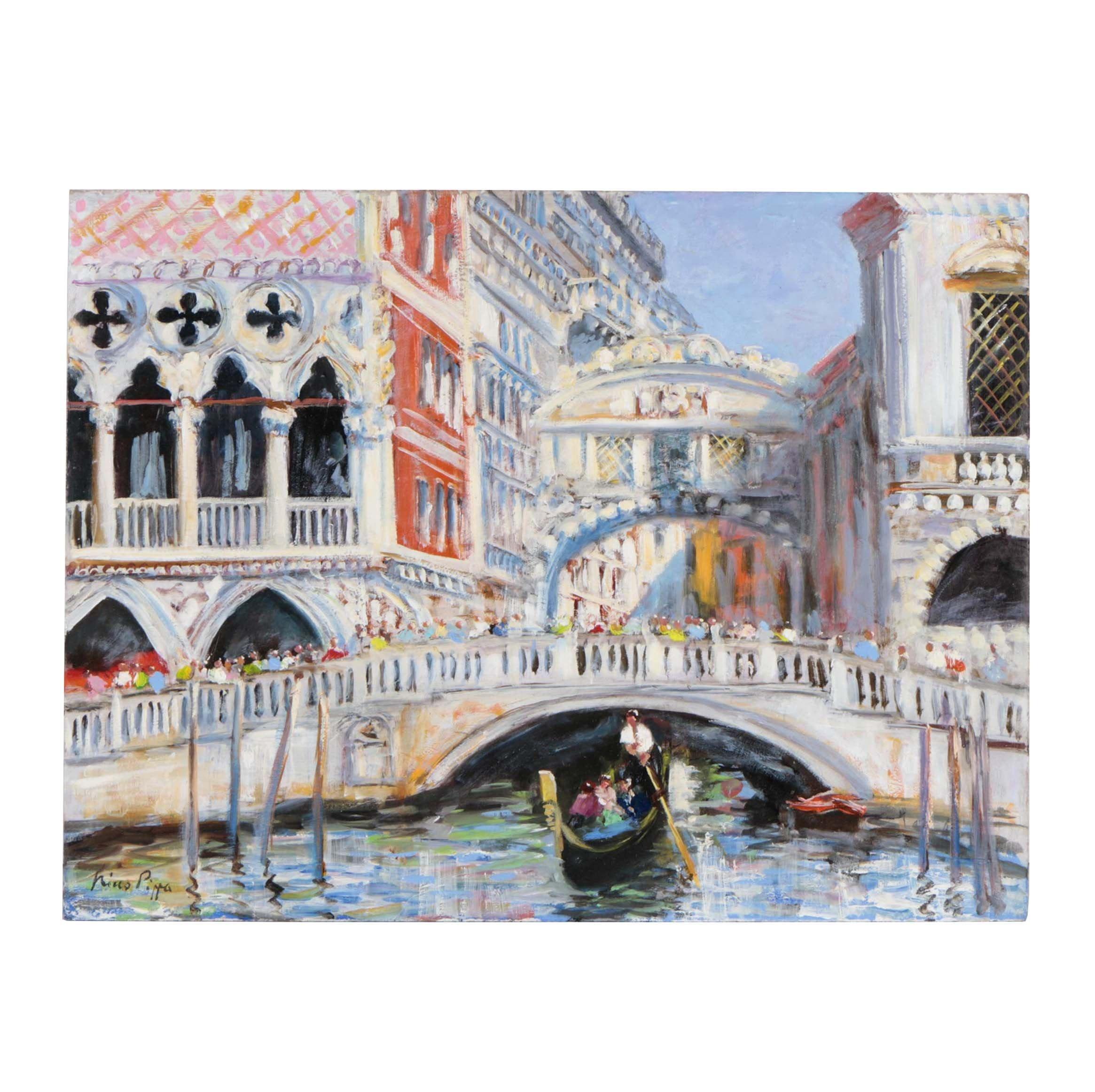 """Nino Pippa Oil Painting """"Ponte della Paglia - Bridge of Sighs"""""""