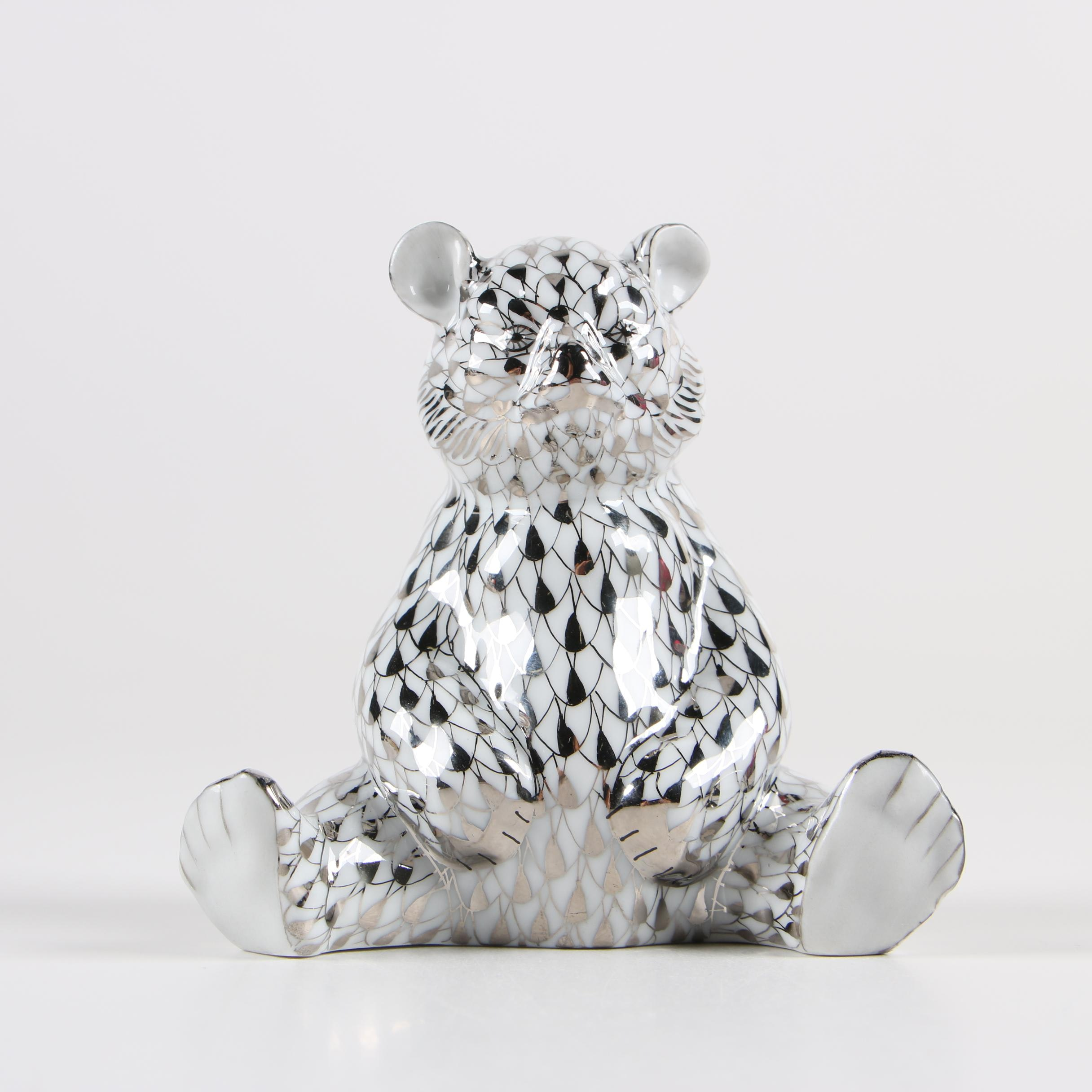 """Herend """"Baby Bear Sitting"""" Hungarian Hand-Painted Porcelain Figurine"""