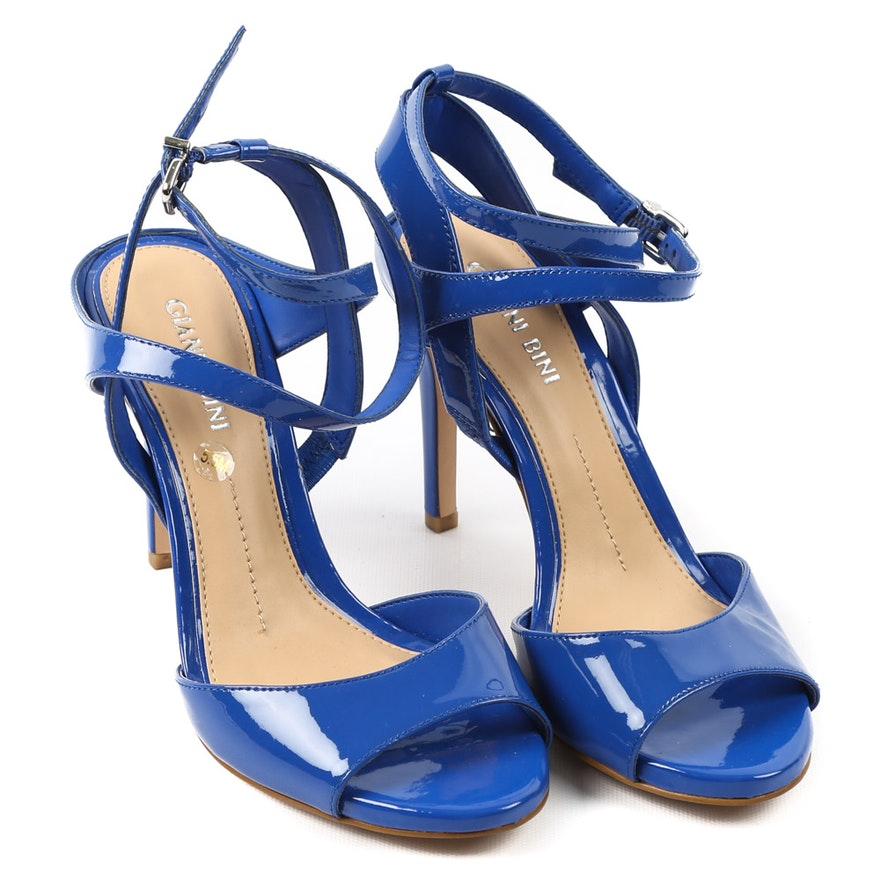 7137d56bd3b Women s Gianni Bini Blue Patent Leather Ankle Strap Dress Sandals   EBTH