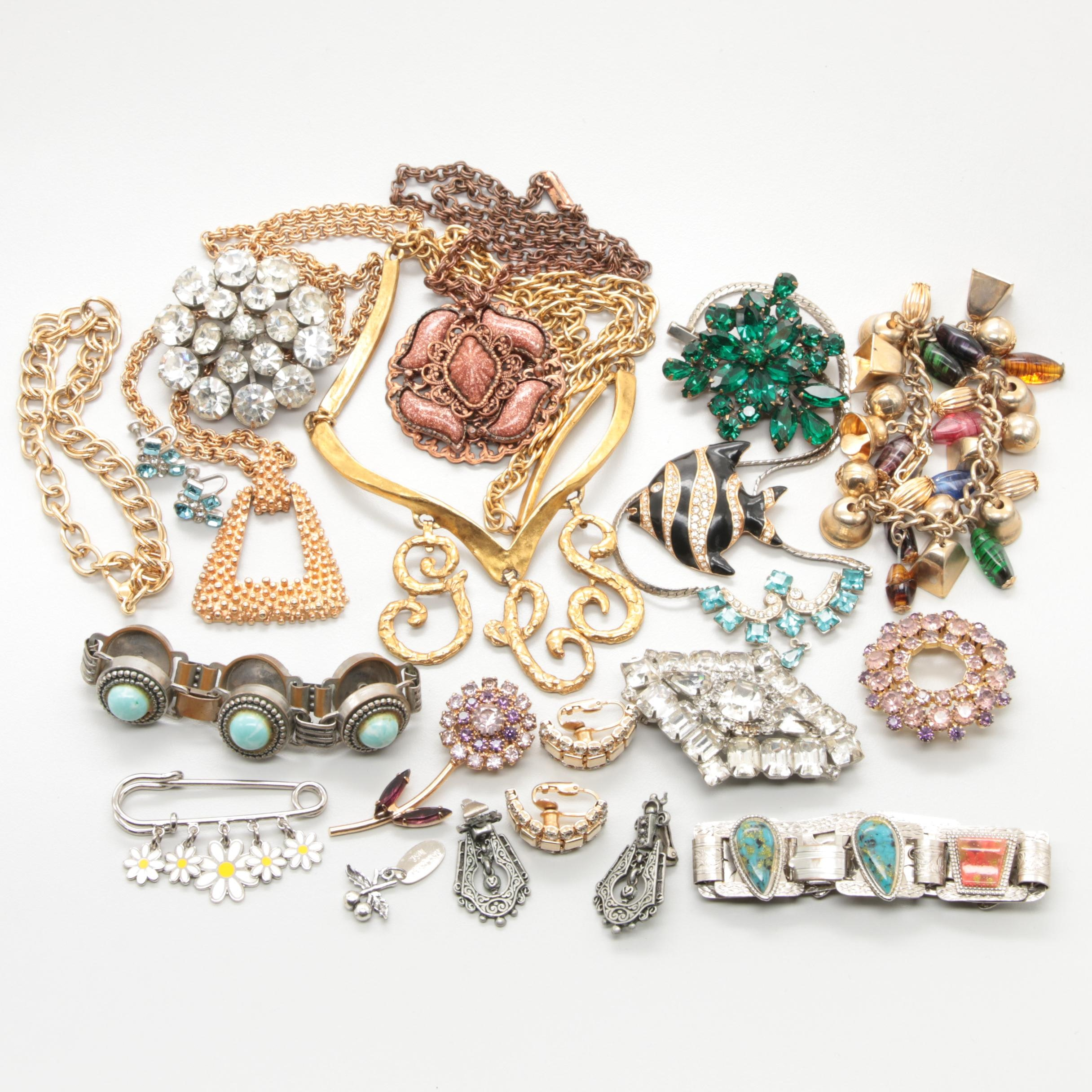 Jewelry Assortment Including Givenchy, Lisner, Weiss, Swarovski, Coach and More