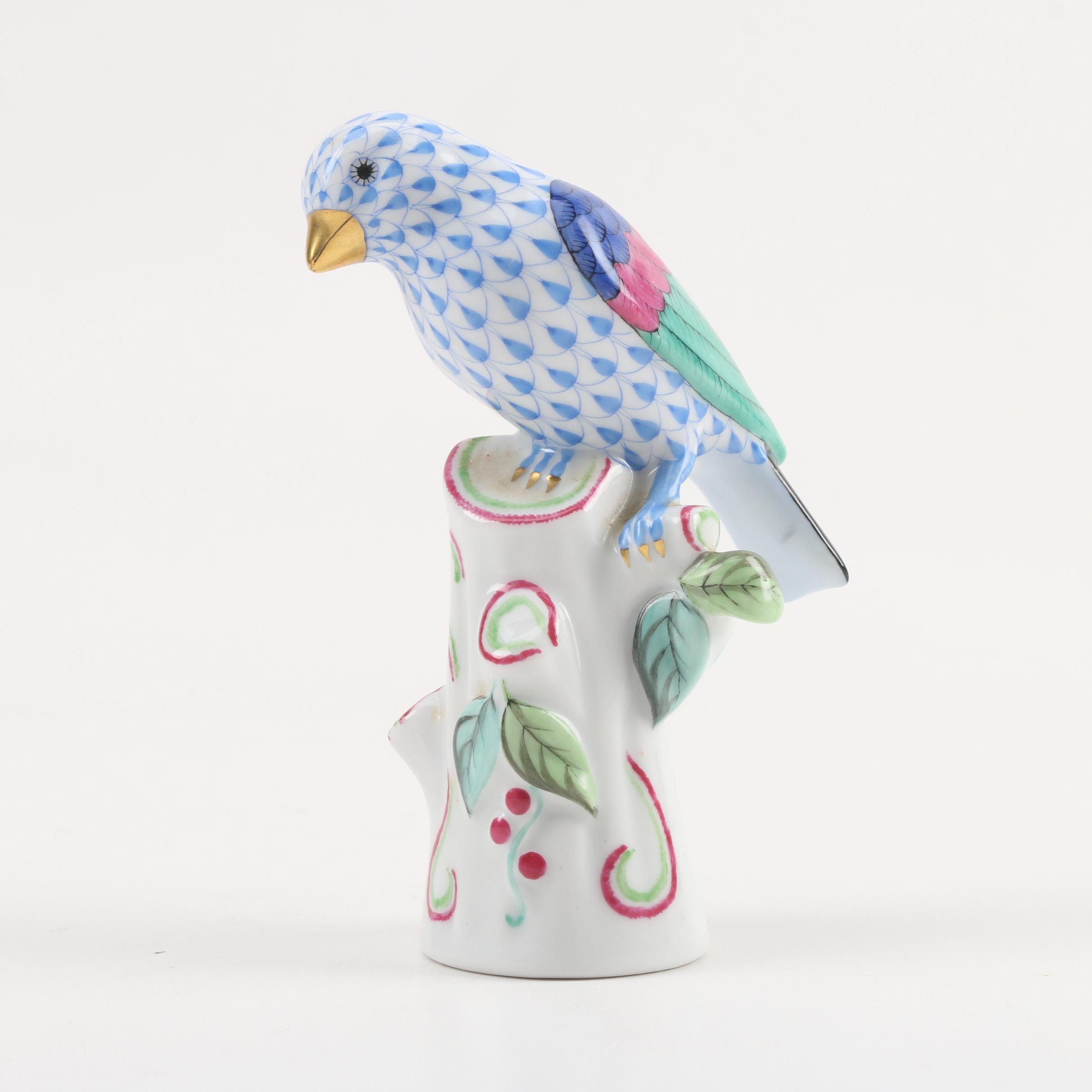 Herend Hungary Hand-Painted Perched Bird Porcelain Figurine