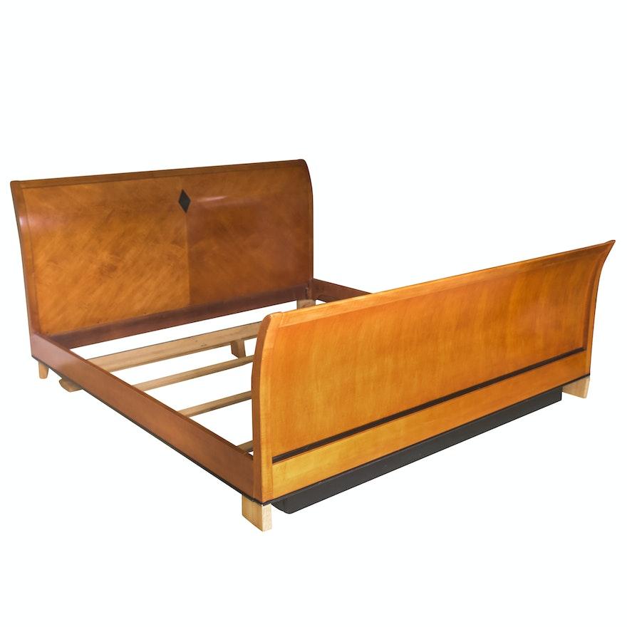 Biedermeier Style King Size Sleigh Bed Frame Ebth
