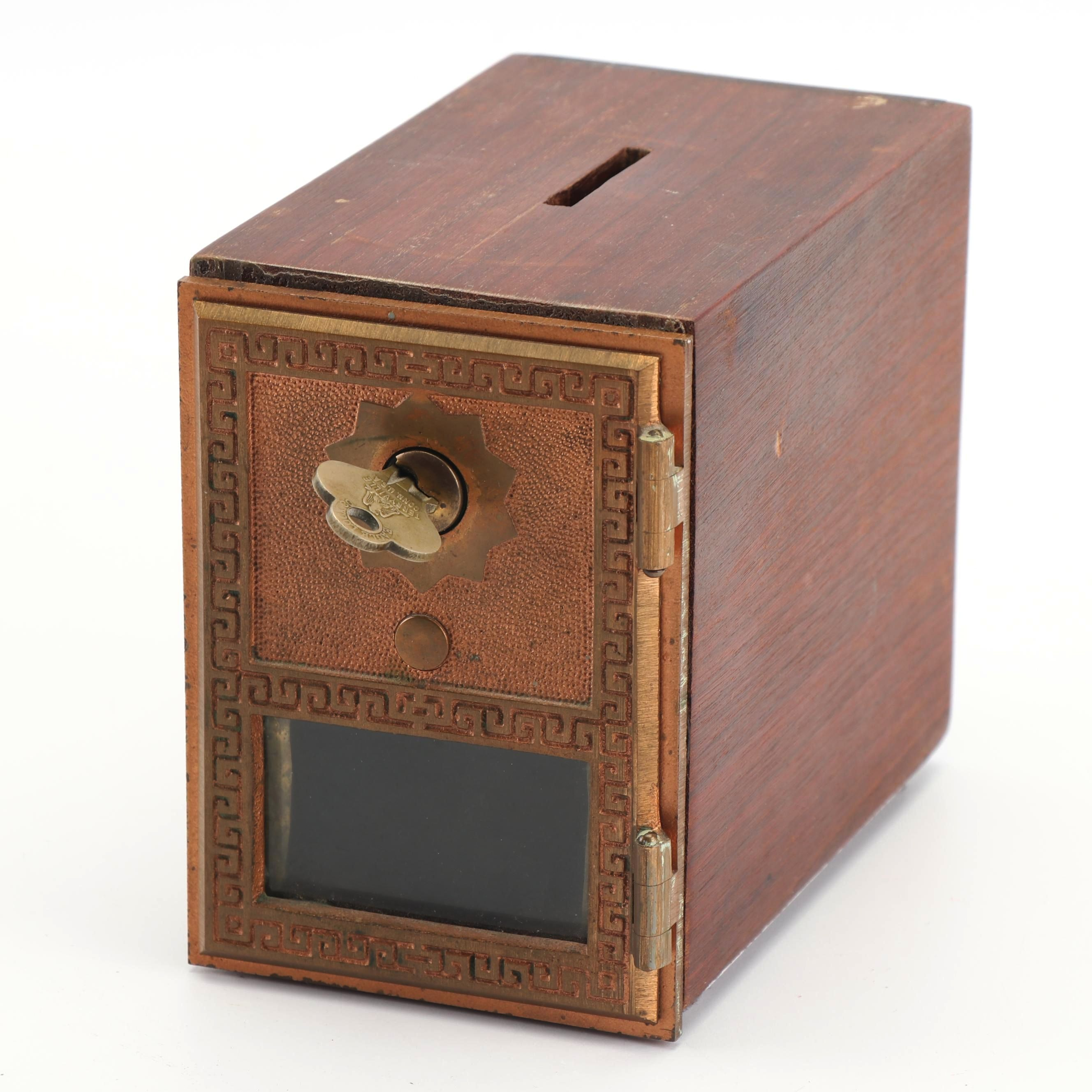 Vintage Post Office Box Coin Bank With Key ...
