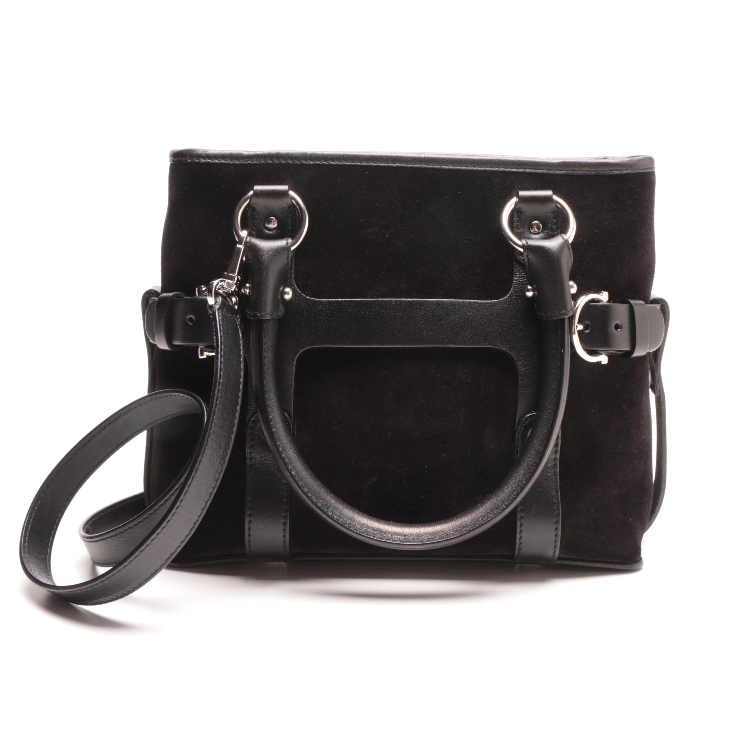 Salvatore Ferragamo Black Suede and Leather Handbag