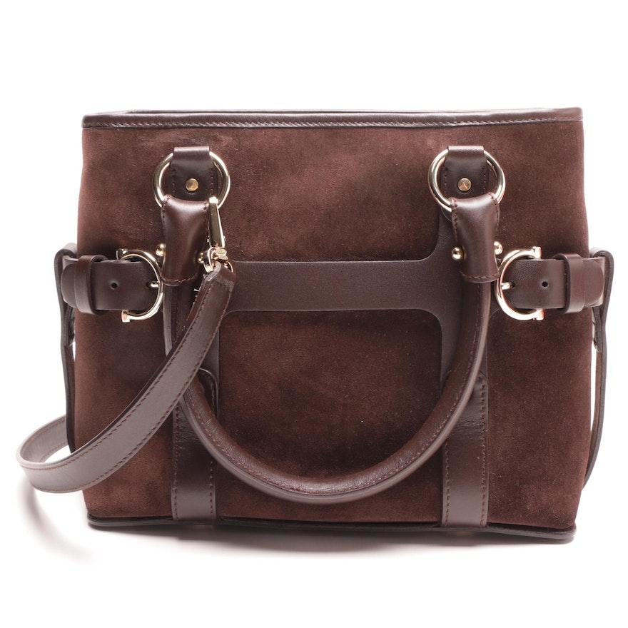 Salvatore Ferragamo Brown Suede and Leather Handbag   EBTH d4072c43d5b58
