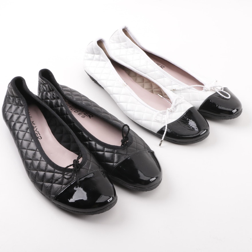 d68f6c80f5c2 Paul Mayer Attitudes Cozy Quilted White and Black Leather Ballet Flats ...