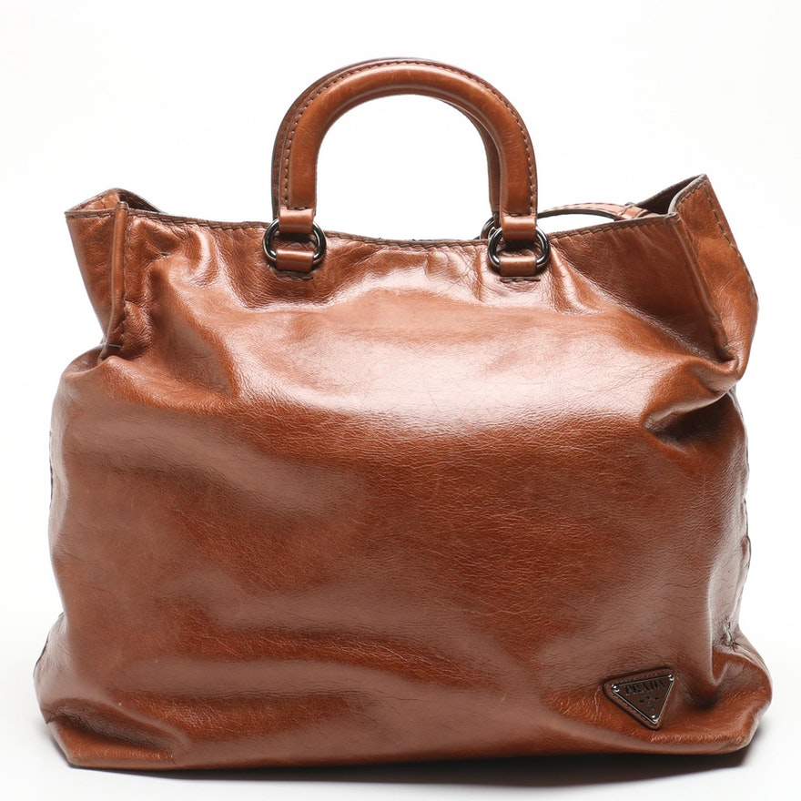 17dbad52e3d1d5 Prada Chestnut Brown Leather Tote Bag : EBTH