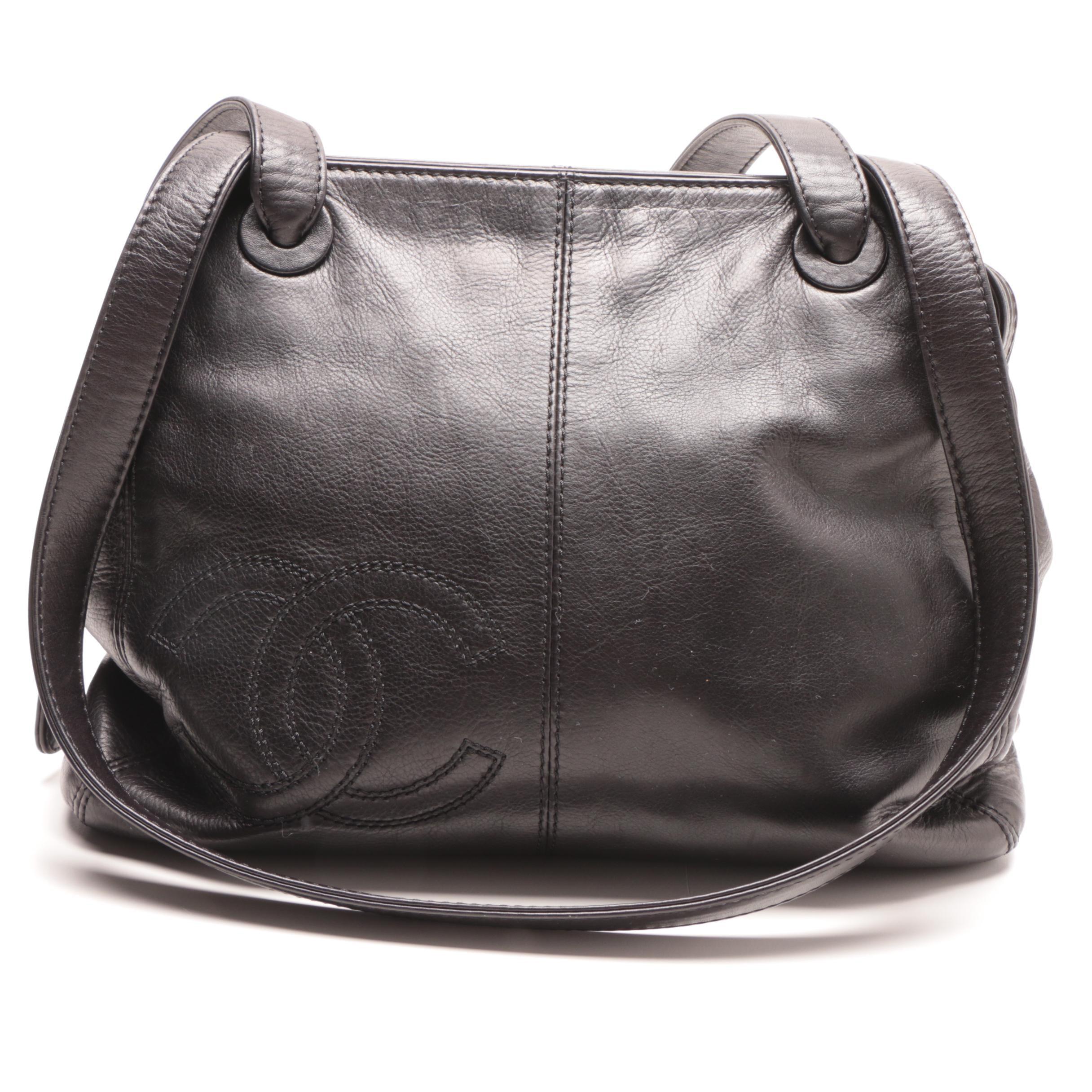 Late 1990s Chanel Black Lambskin Leather Shoulder Bag