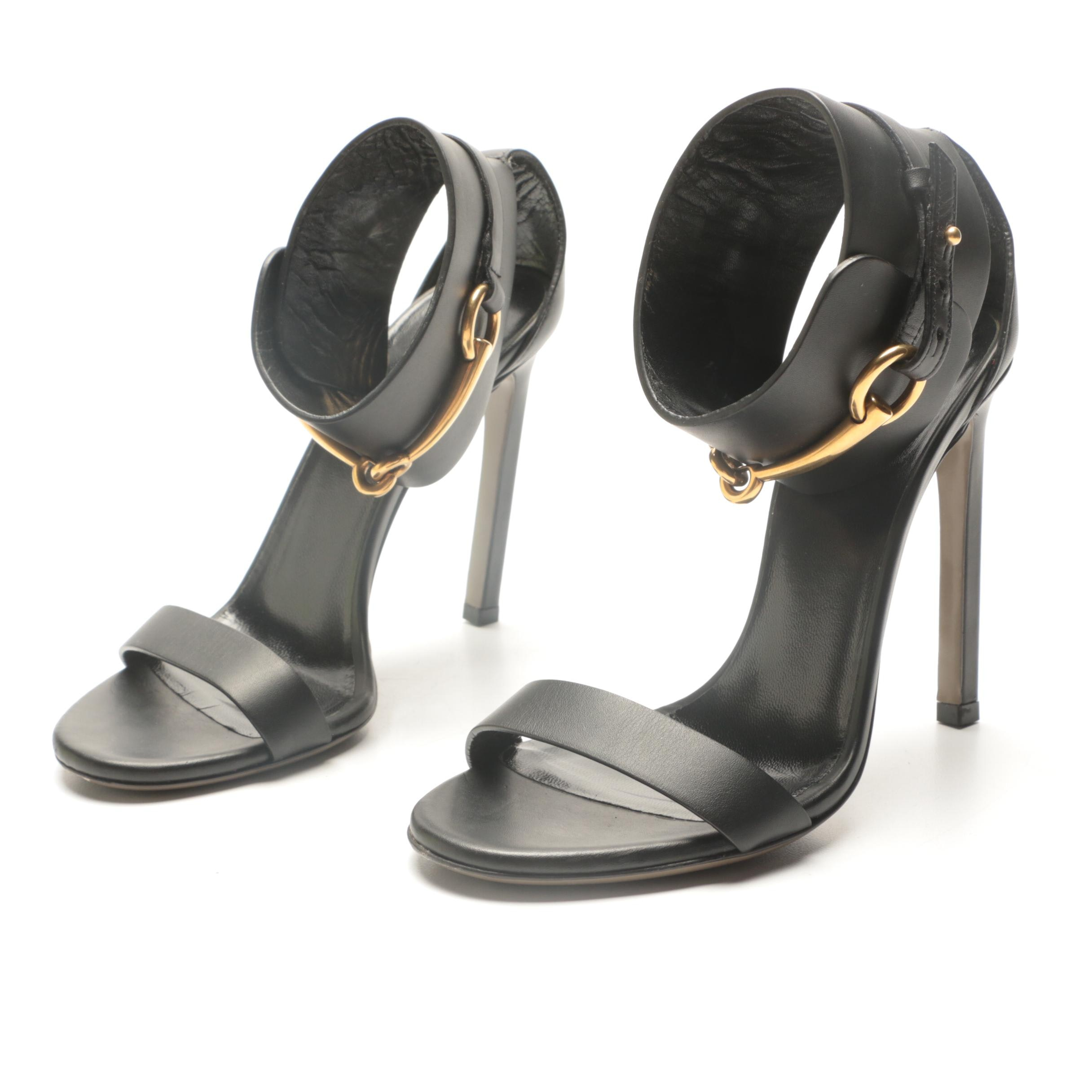 Gucci Ursula Black Leather Horsebit Ankle Cuff Sandals