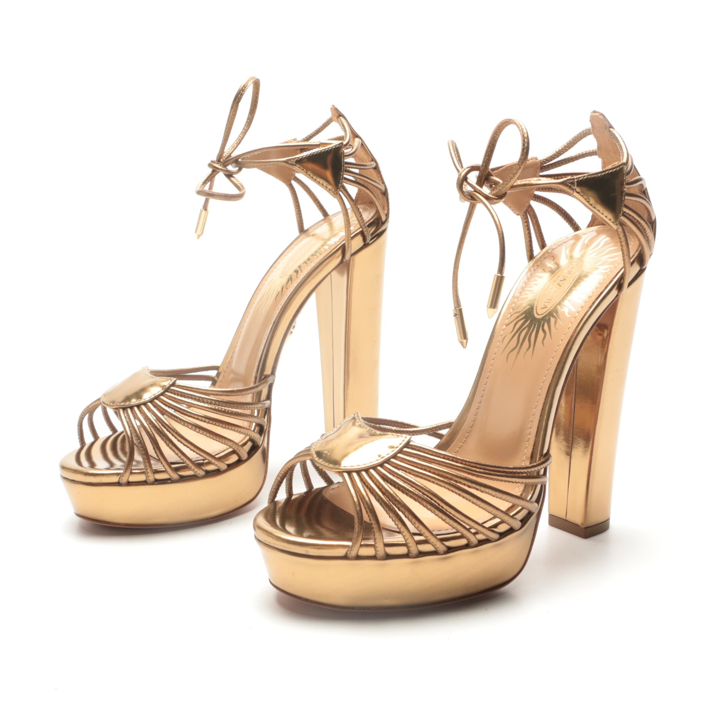 Aquazzura Josephine Plateau 130 Platform High-Heeled Sandals in Antique Gold