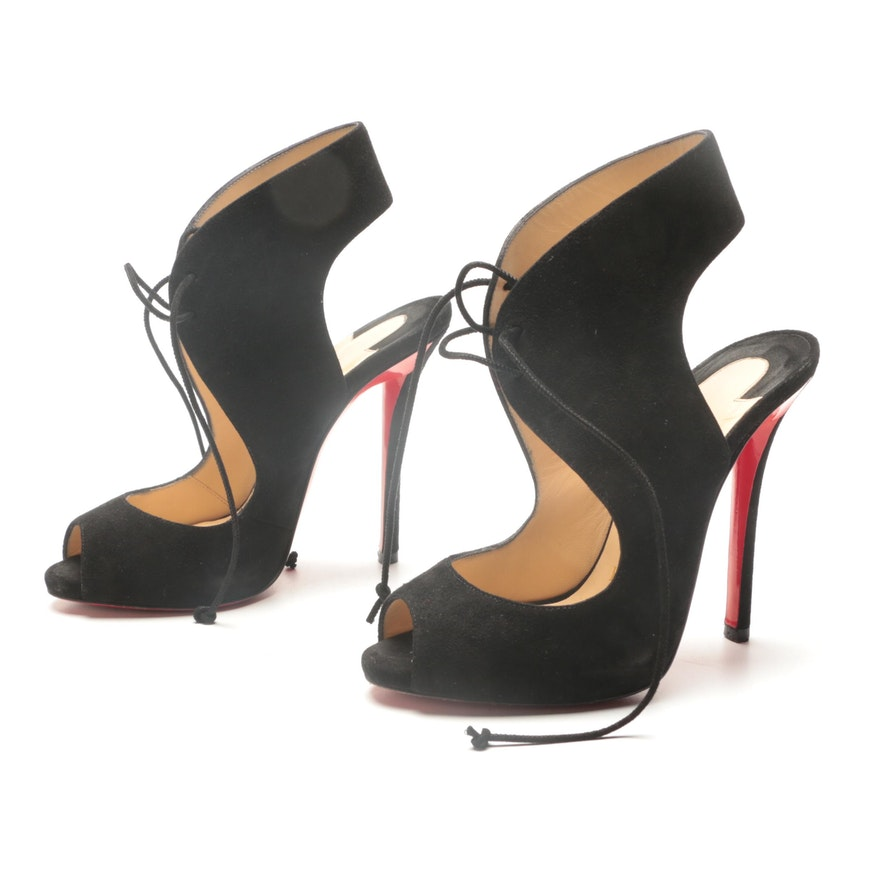 Christian Louboutin of Paris Black Suede Cut-Out Lace-Up Pumps
