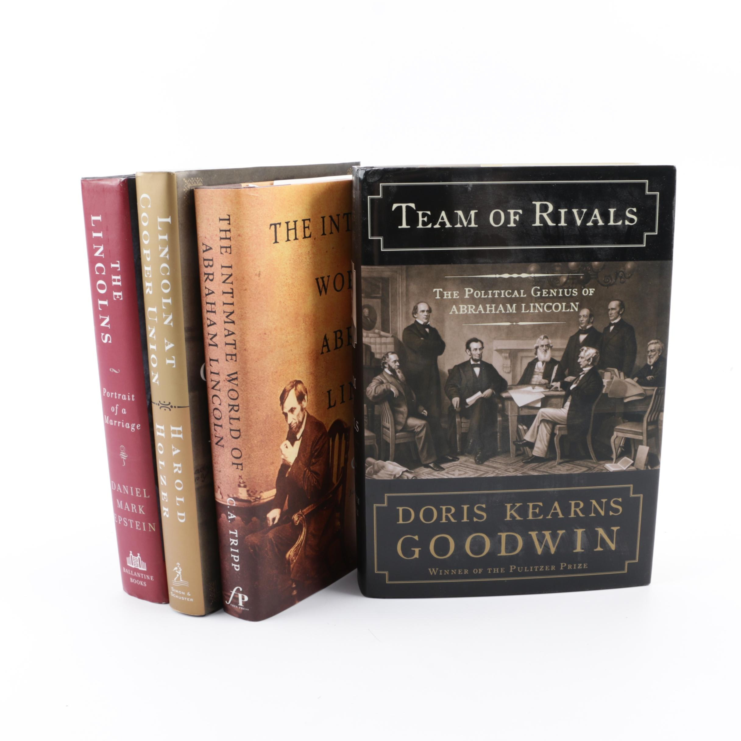 "Books on Abraham Lincoln including ""Team of Rivals"" by Doris Kearns Goodwin"