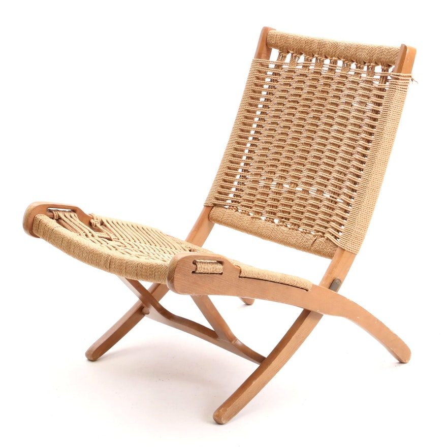 Outstanding Mid Century Modern Folding Woven Rope Chair In The Style Of Ocoug Best Dining Table And Chair Ideas Images Ocougorg