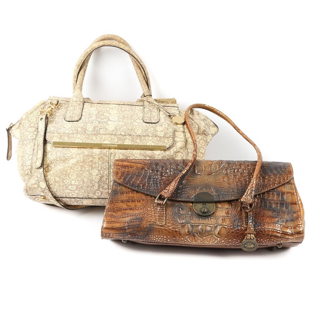 Vintage Brahmin Embossed Leather Handbags