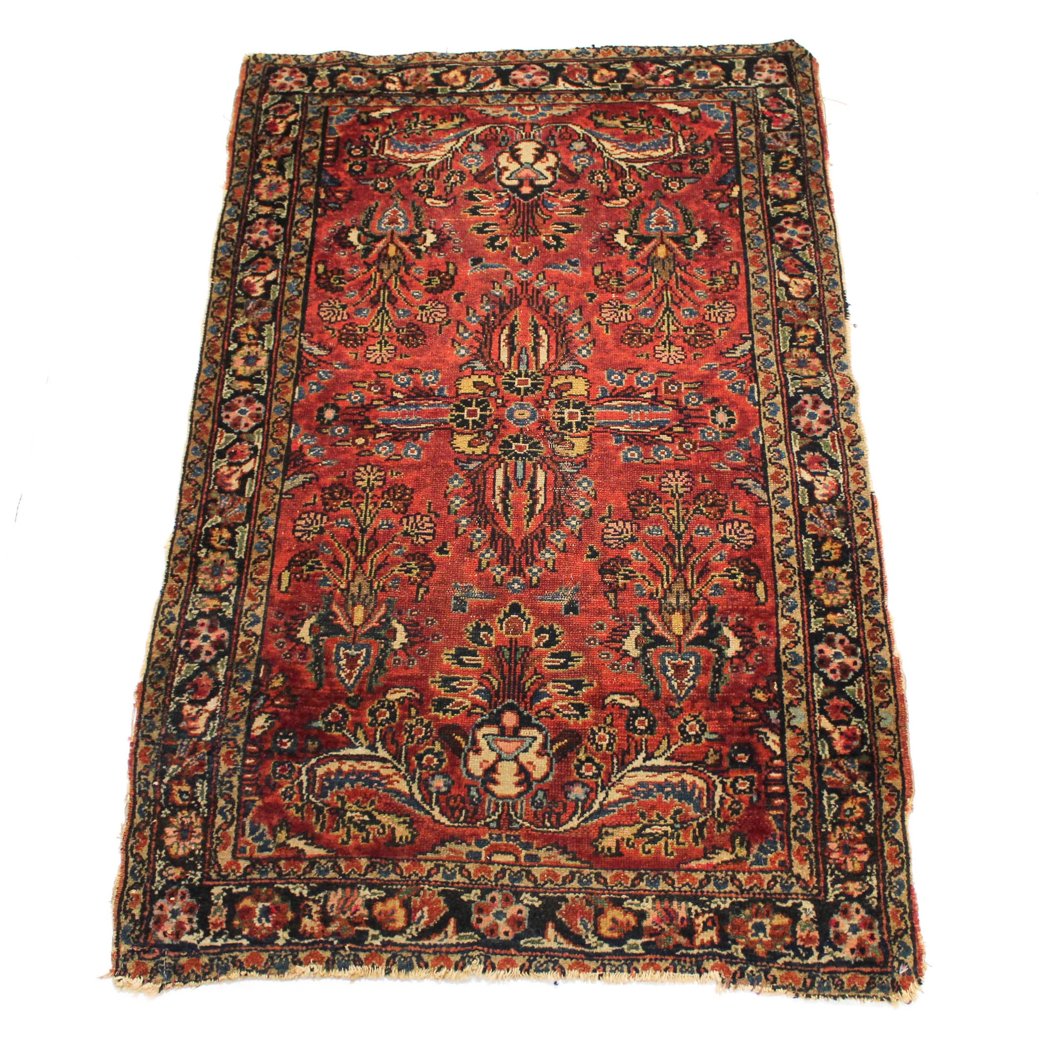 Antique Hand-Knotted Persian Lilihan Rug
