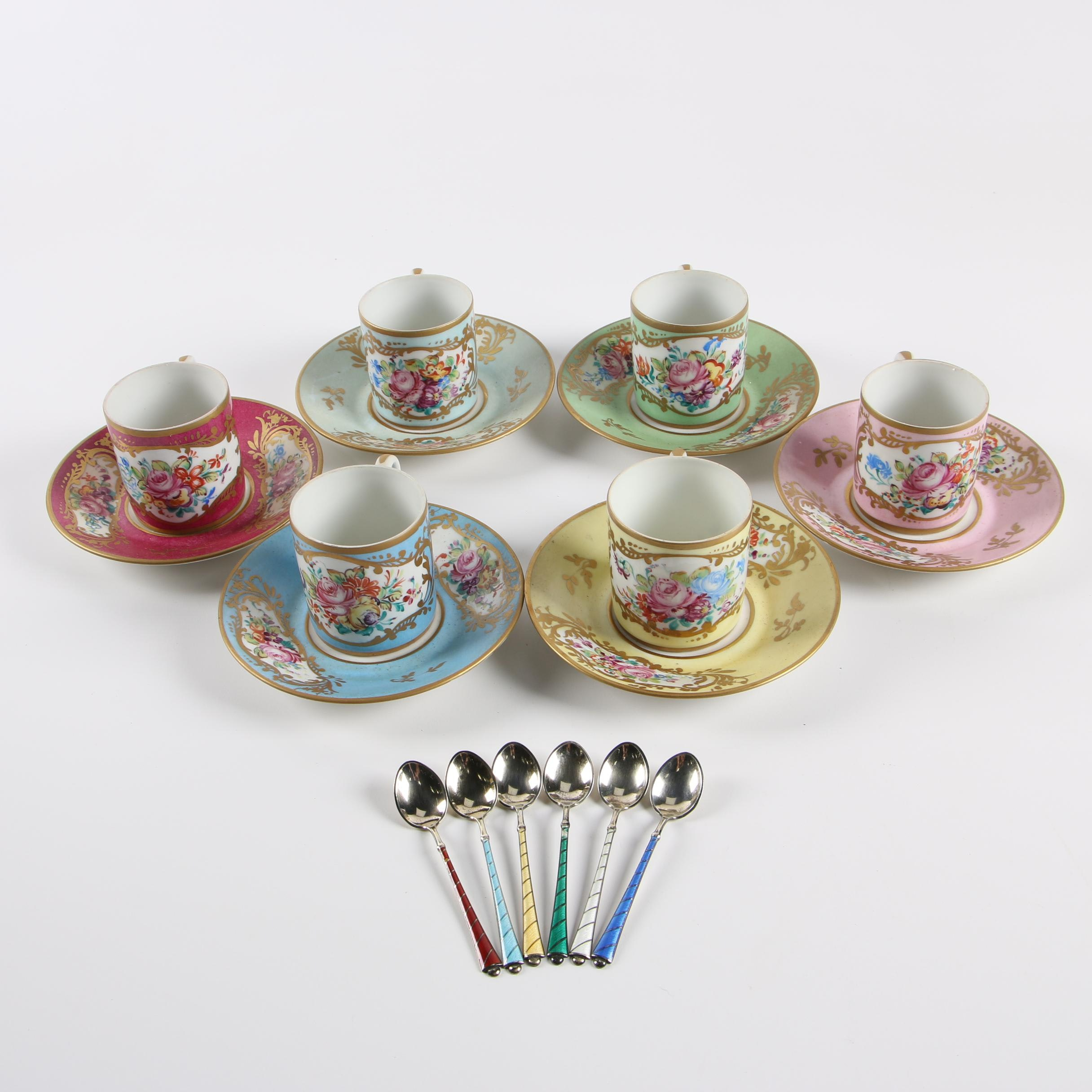 Limoges Sevres Style Demitasse Cup Sets with Ela Danish Enameled Sterling Spoons