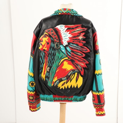 Men's 1990s Jeff Hamilton Custom Leather Art Jacket