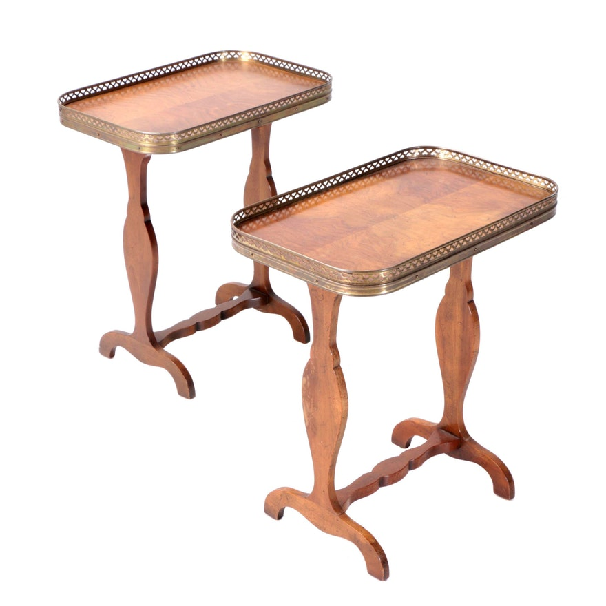 Baker Furniture Burl Wood Veneer Side Tables