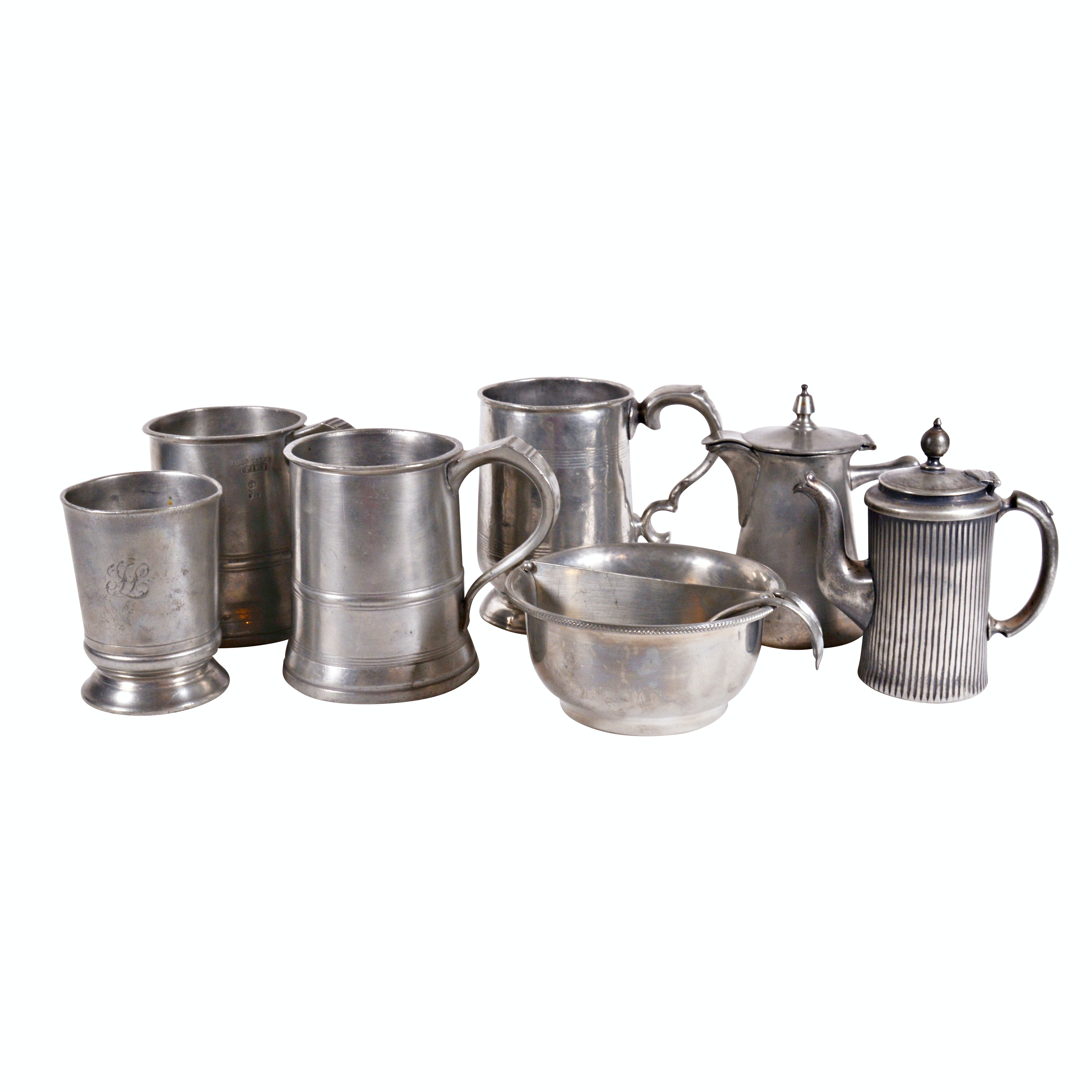 Antique  James Yates Tankards With Vintage Pewter and Silver Plate Tableware