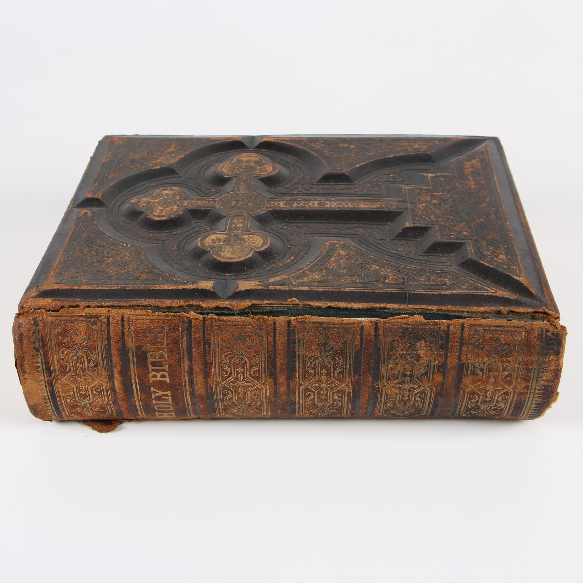 Circa 1880 Catholic Gilt and Embossed Leather Bound Bible
