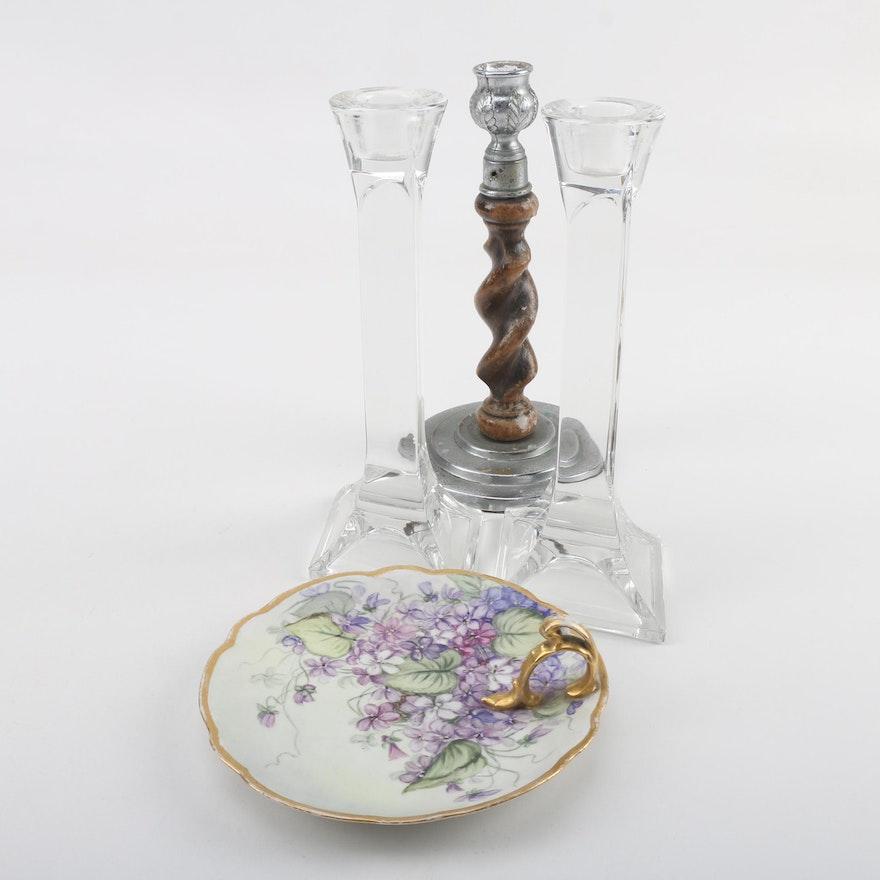Antique Mz Austria Hobbyist Painted Porcelain Lemon Server With
