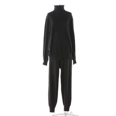 Women's Theory Black Cashmere Turtleneck Sweater and Lounge Pants
