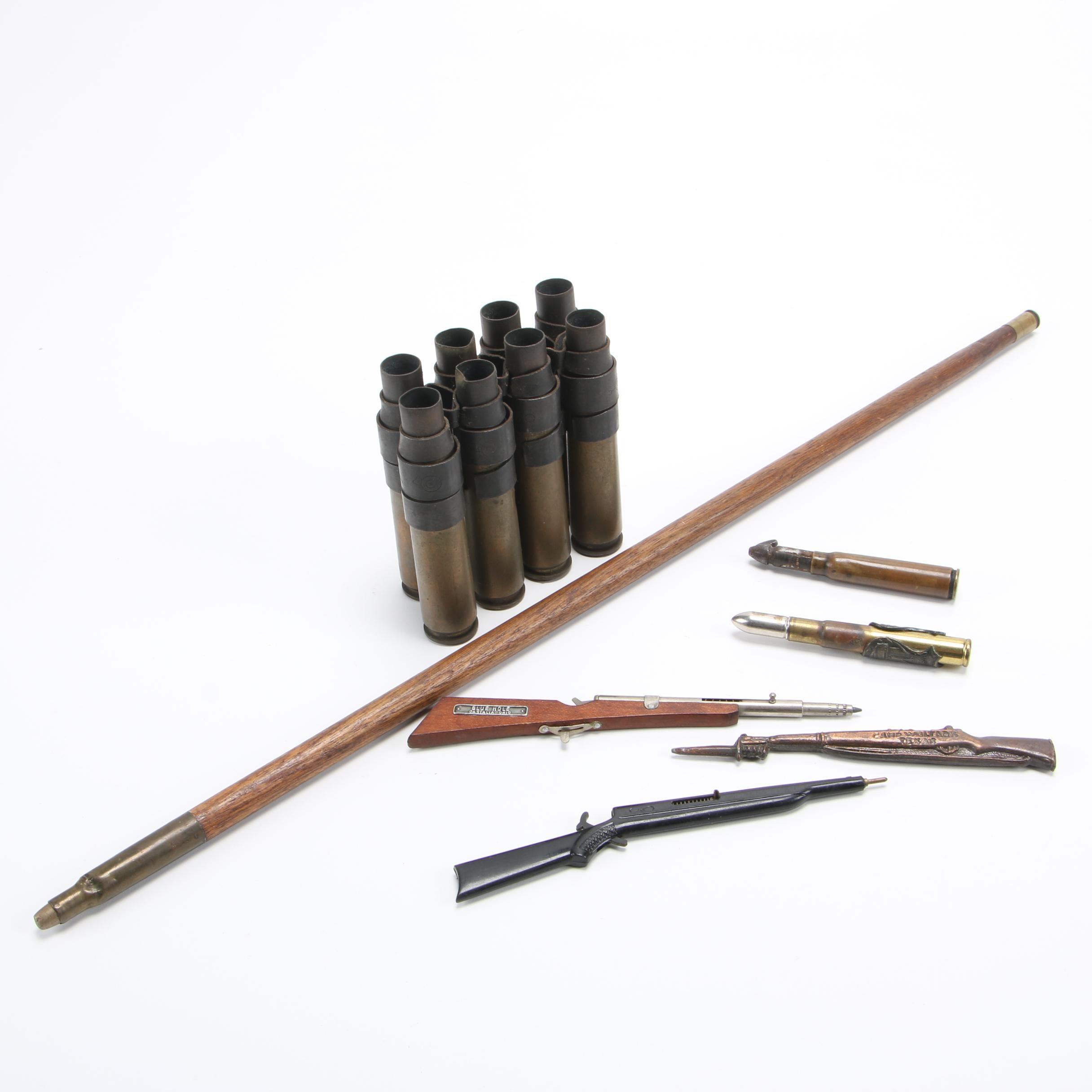 Vintage Souvenir Bullets, Casings, Rifle Shaped Pens, Figurine and Pointer